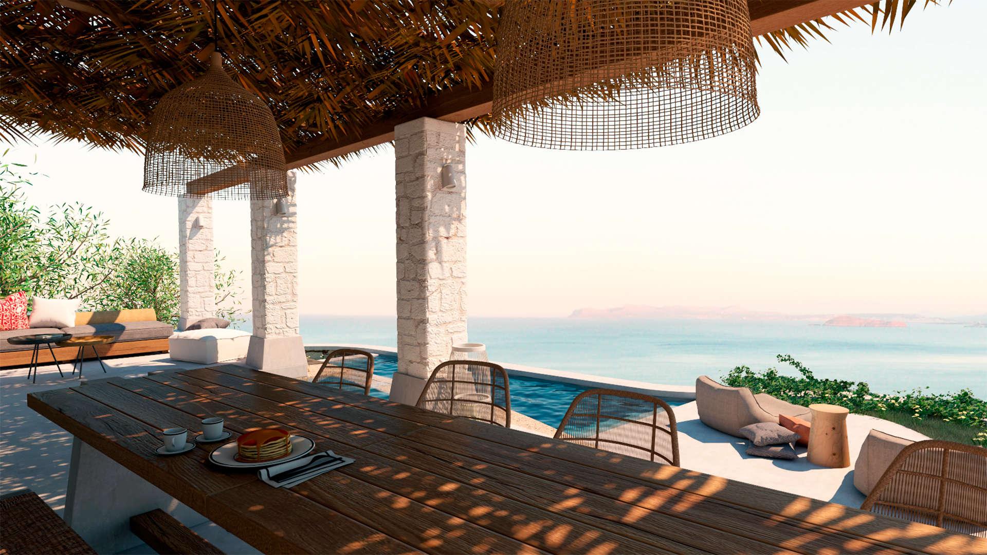 Holiday home, exterior design, pool, poolside, dinning space, Jacuzzi, sea view. Παραθεριστική κατοικία, εξωτερικοί χώροι, πισίνα, τζακούζι, τραπεζαρία, Θέα θάλασσα.