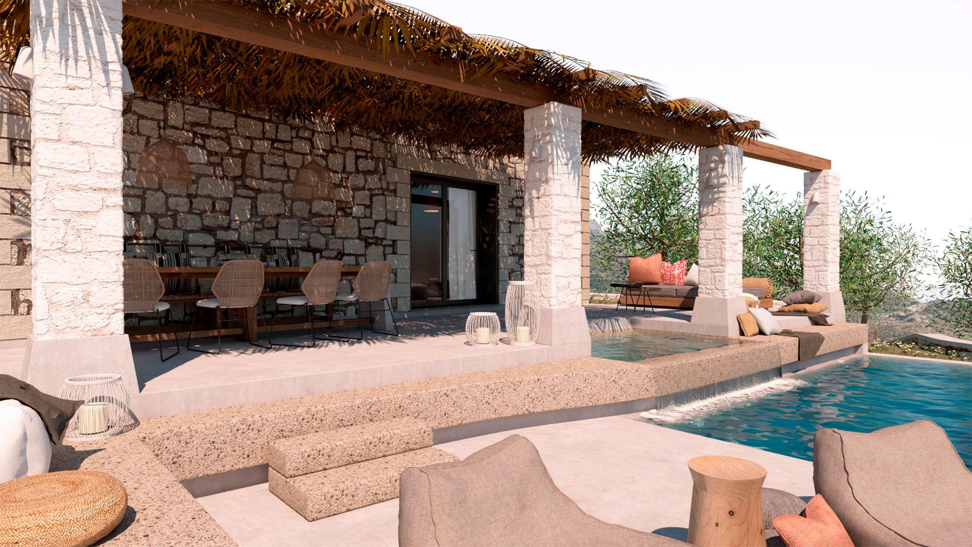 Holiday home, exterior design, pool, poolside, dinning space, Jacuzzi, pergola. Παραθεριστική κατοικία, εξωτερικοί χώροι, πισίνα, τζακούζι, τραπεζαρία, πέργκολα.