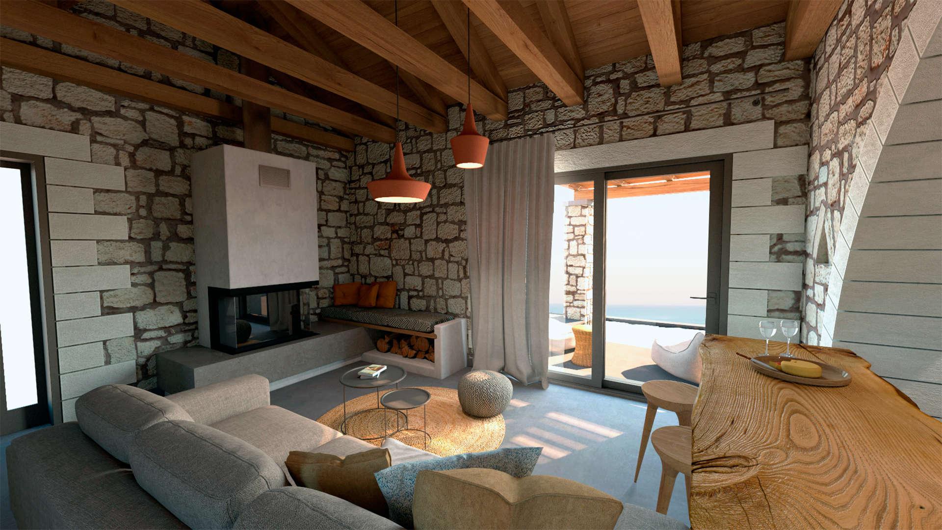 Holiday home, interior design, living room and fireplace. Παραθεριστική κατοικία, εσωτερικοί χώροι, καθιστικό με θέα, τζάκι.