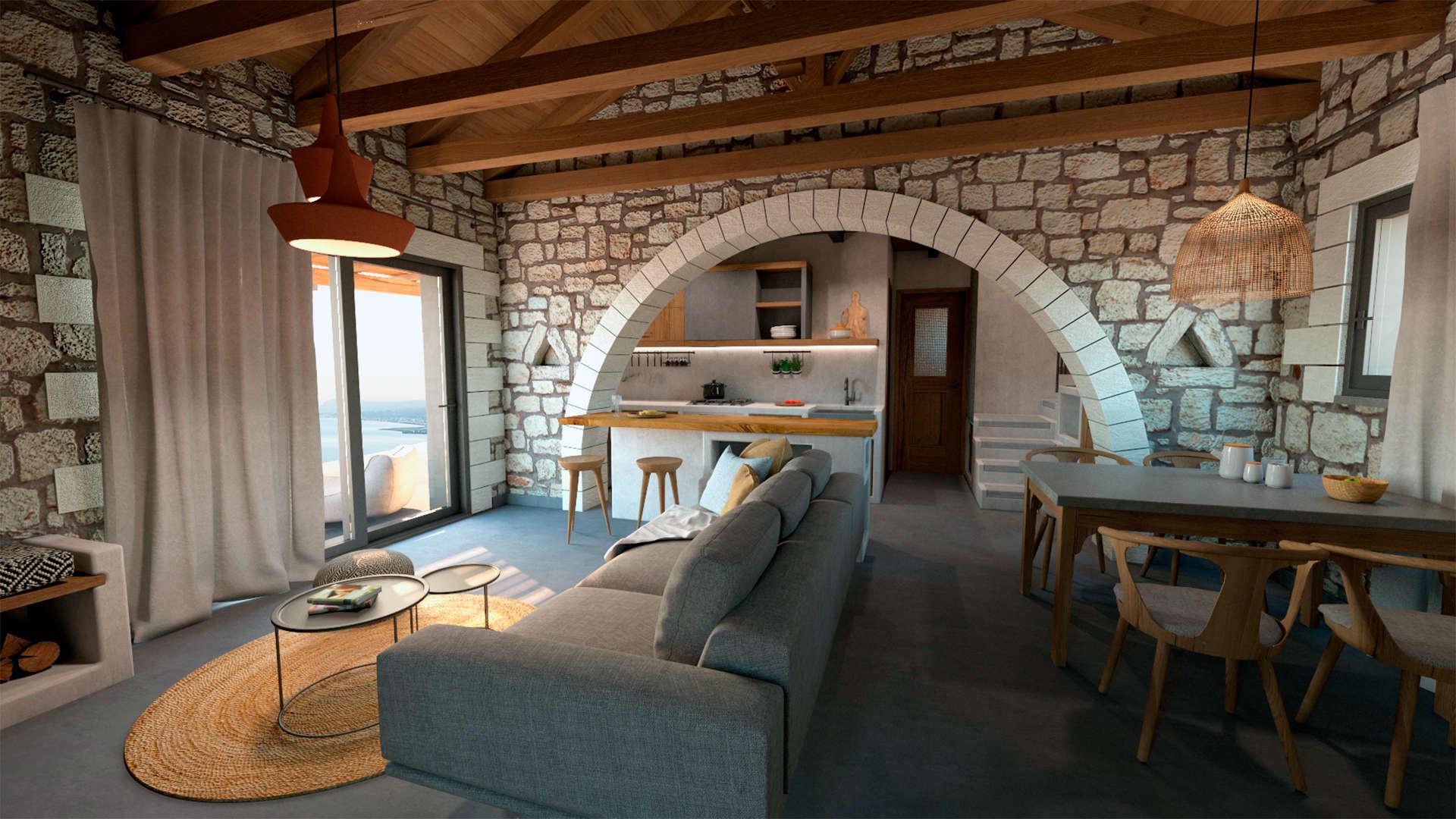 Holiday home, interior design, living room, kitchen, dining. Παραθεριστική κατοικία, εσωτερικοί χώροι, καθιστικό, τραπεζαρία, κουζίνα.