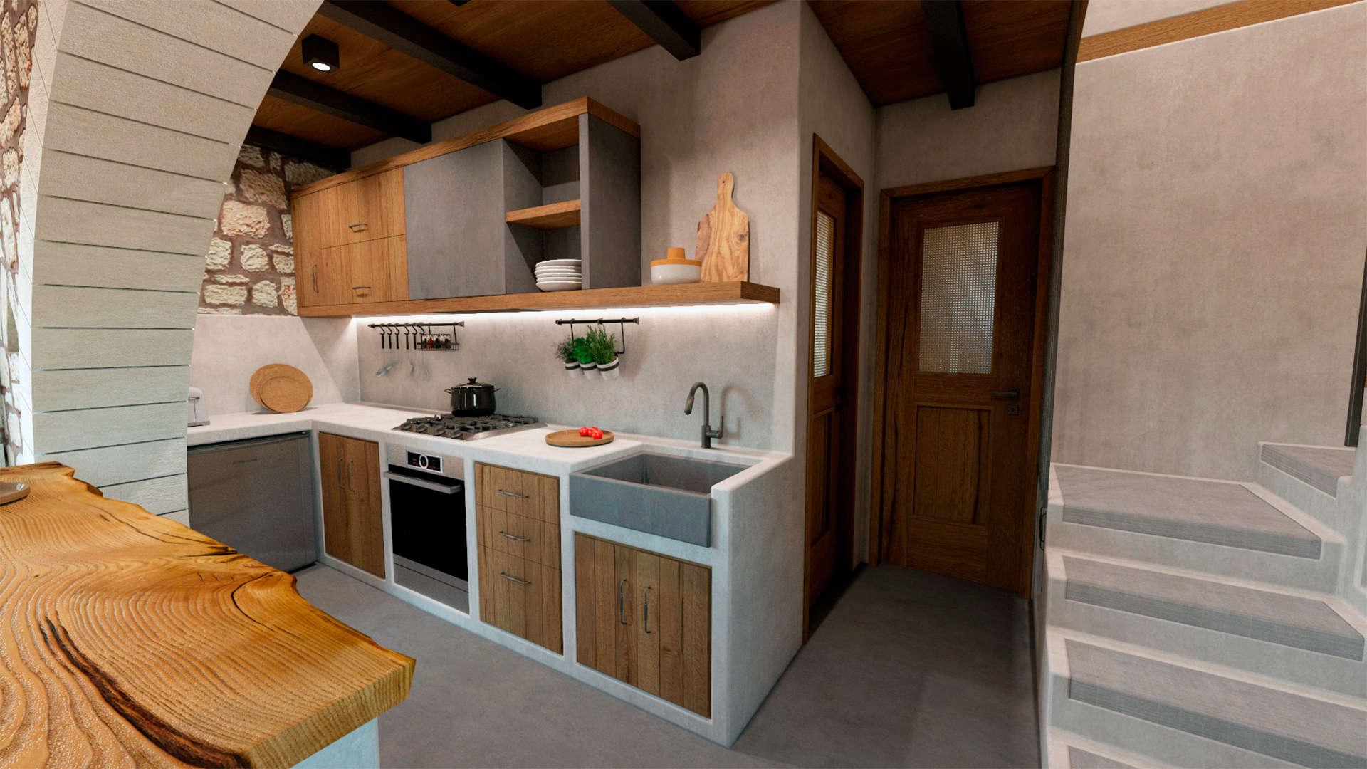 Holiday home, interior design, kitchen, stairs. Παραθεριστική κατοικία, εσωτερικοί χώροι, κουζίνα, σκάλα.