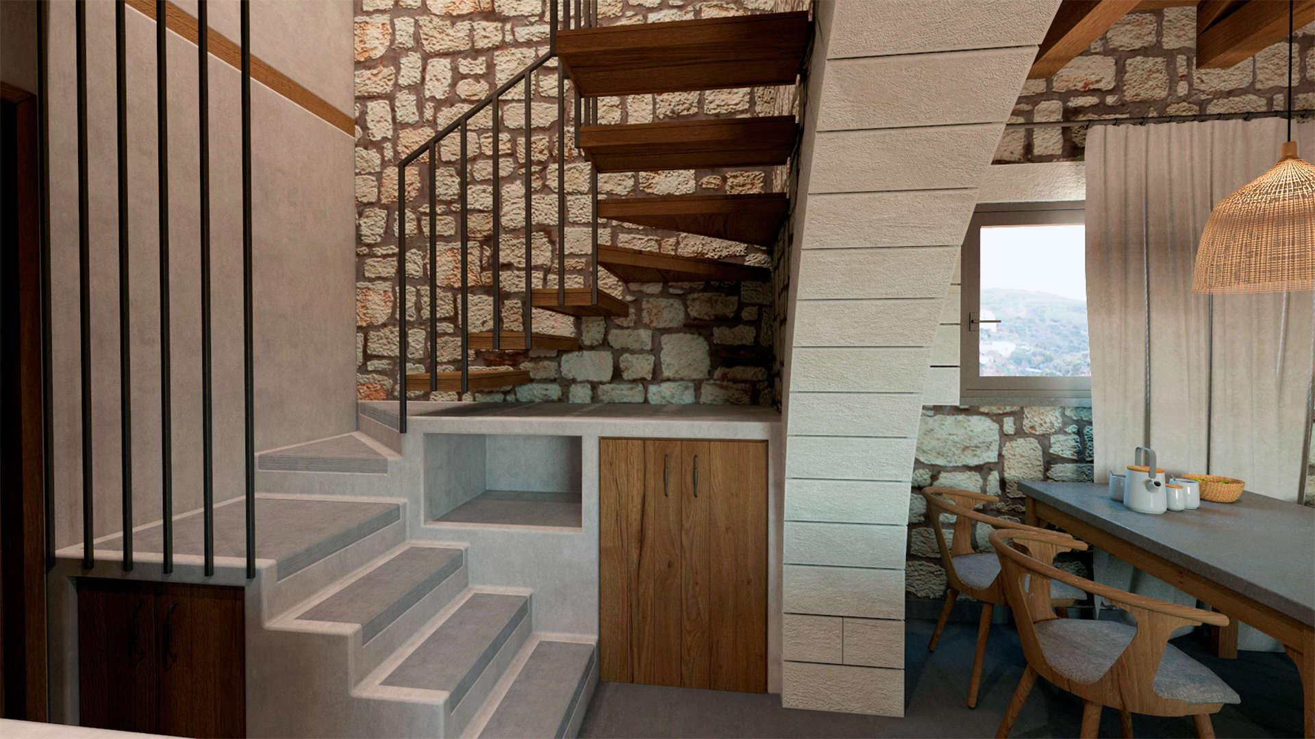 Holiday home, interior design, dining room, stairs. Παραθεριστική κατοικία, εσωτερικοί χώροι,τραπεζαρία, σκάλα.