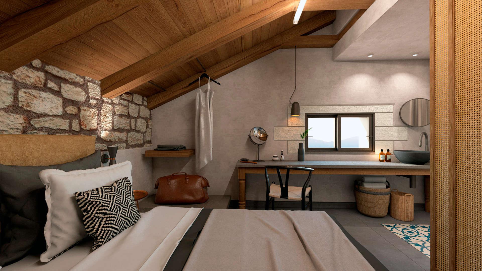 Holiday home, interior design, traditional touch, master bedroom. Παραθεριστική κατοικία, εσωτερικοί χώροι, κύριο υπνοδωμάτιο, παραδοσιακό ύφος, διακόσμηση.