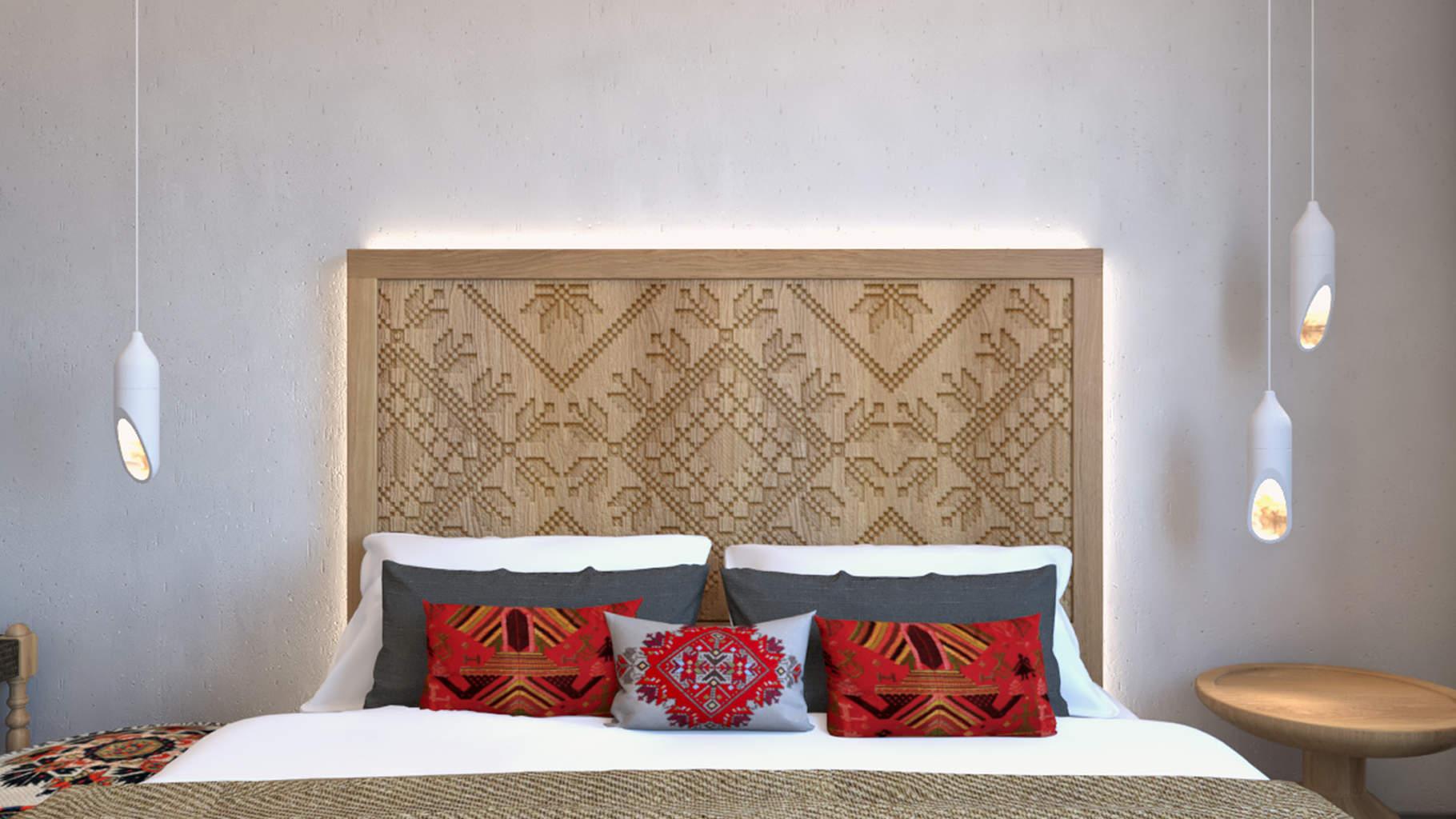 villas complex, interior design, master bedroom. Συγκρότημα τουριστικών κατοικιών, εσωτερικός χώρος, κύριο υπνοδωμάτιο.