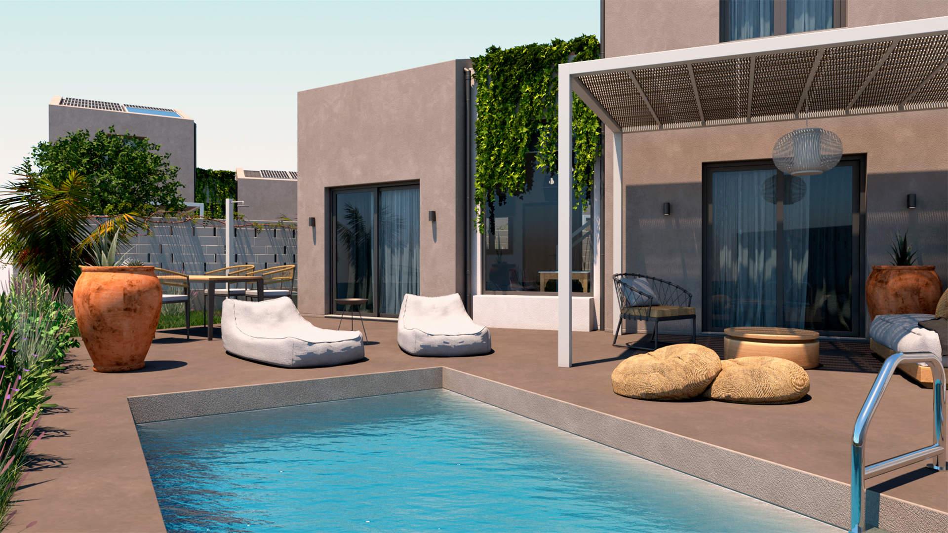 villas complex, exterior design,private outdoor space and pool, landscaping. Συγκρότημα τουριστικών κατοικιών, εξωτερικές διαμορφώσεις, ιδιωτική πισίνα, ιδιωτική αυλή.