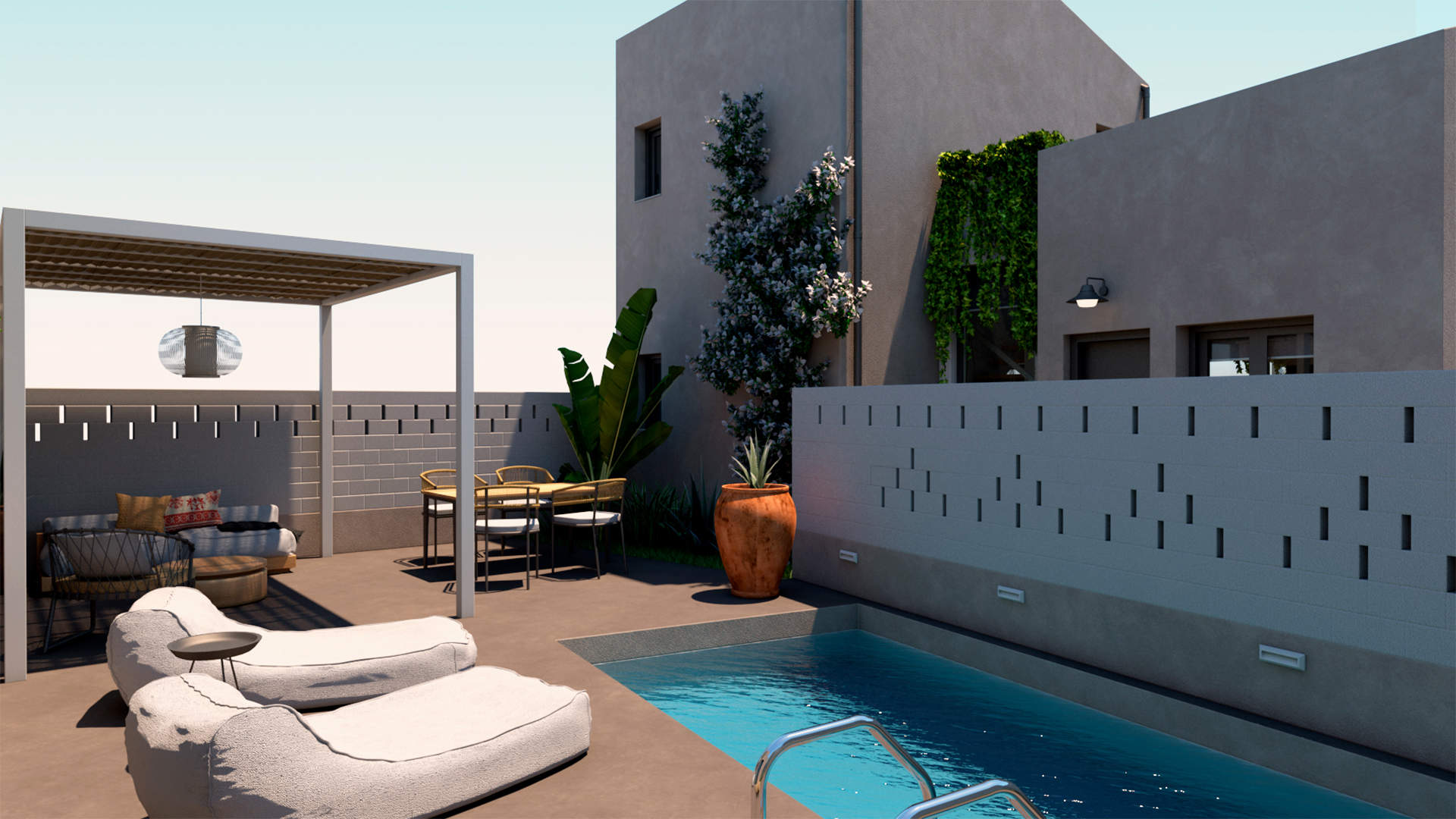 villas complex, exterior design,private outdoor space and pool, landscaping. Συγκρότημα τουριστικών κατοικιών, εξωτερικές διαμορφώσεις, ιδιωτική πισίνα, ιδιωτική αυλή.