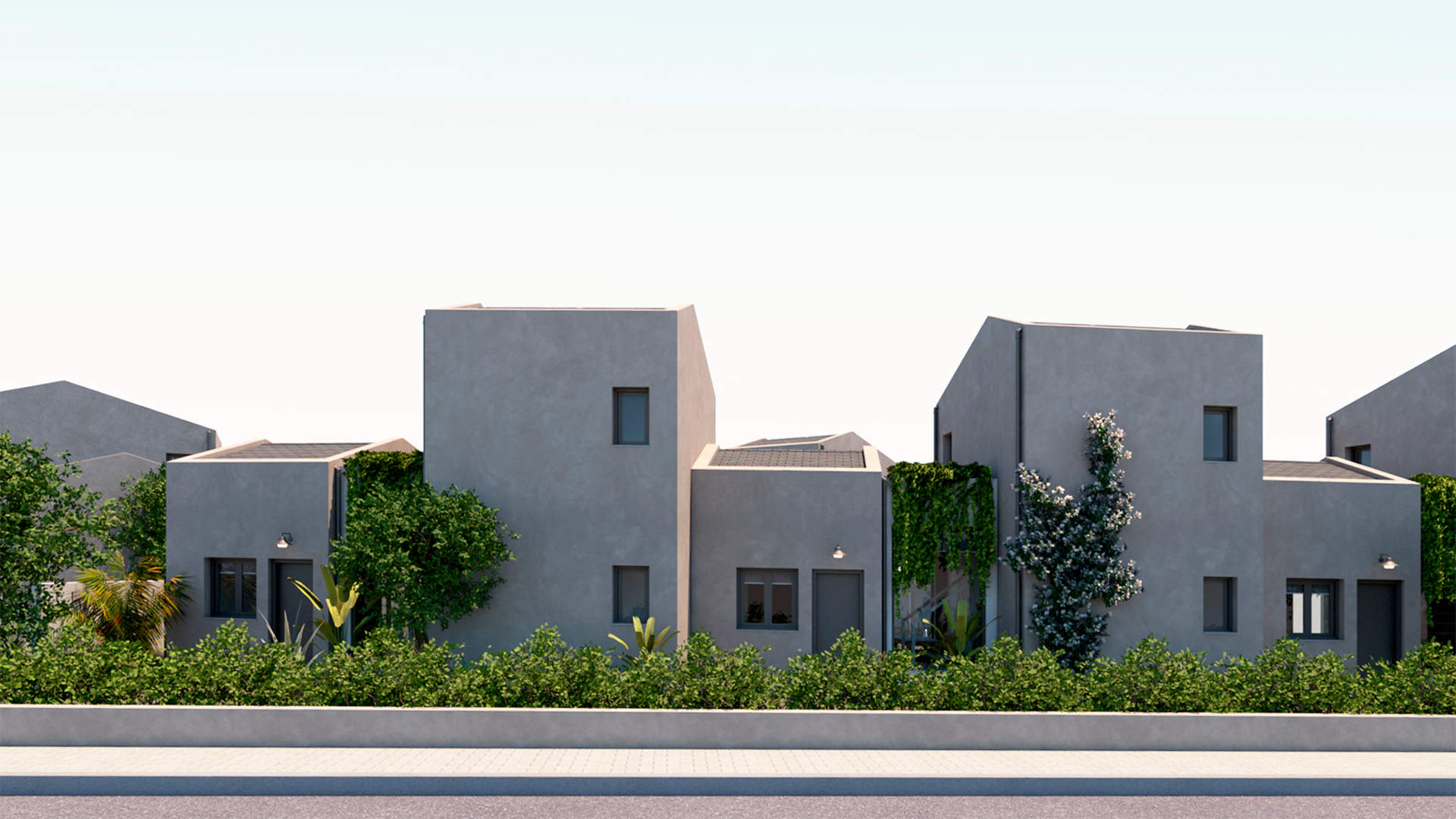villas complex, exterior design, facades, entrances, landscaping. Συγκρότημα τουριστικών κατοικιών, εξωτερικές διαμορφώσεις, όψεις, είσοδοι, τοπίο.