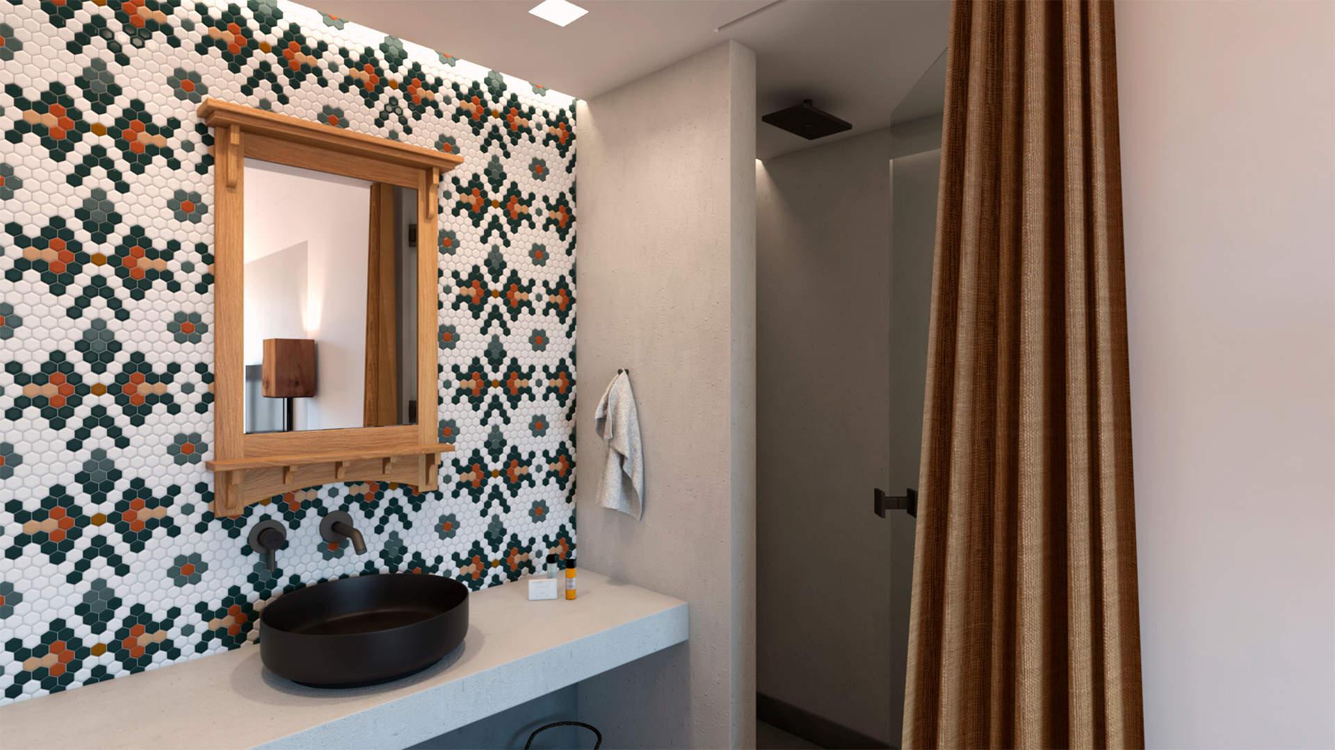 villas complex, interior design, bathroom of master bedroom. Συγκρότημα τουριστικών κατοικιών, εσωτερικός χώρος, μπάνιο στο κύριο υπνοδωμάτιο.