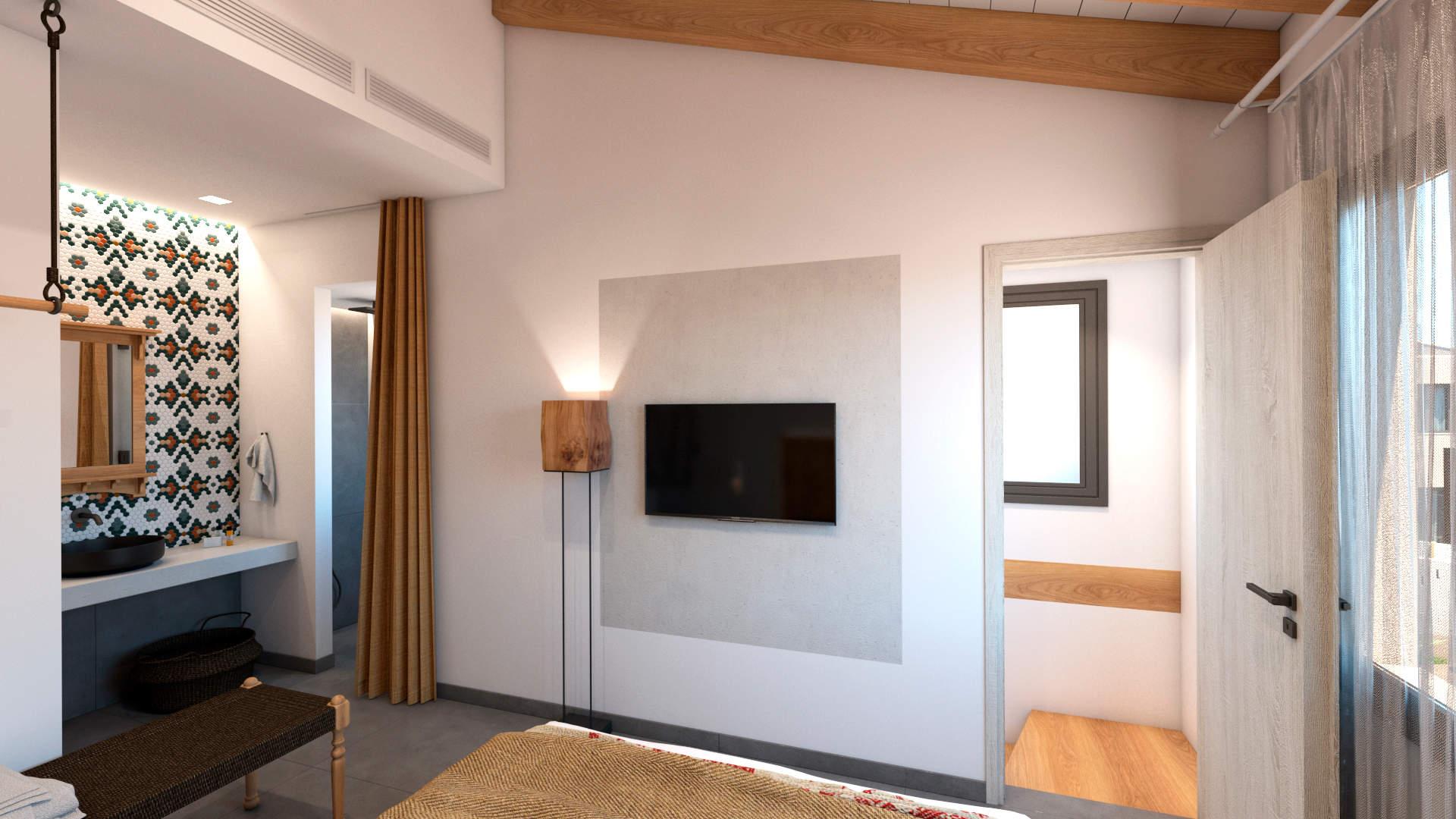 villas complex, interior design, master bedroom, open bathroom, open wardrobe. Συγκρότημα τουριστικών κατοικιών, εσωτερικός χώρος, κύριο υπνοδωμάτιο, ανοιχτό μπάνιο, ανοιχτή ντουλάπα.