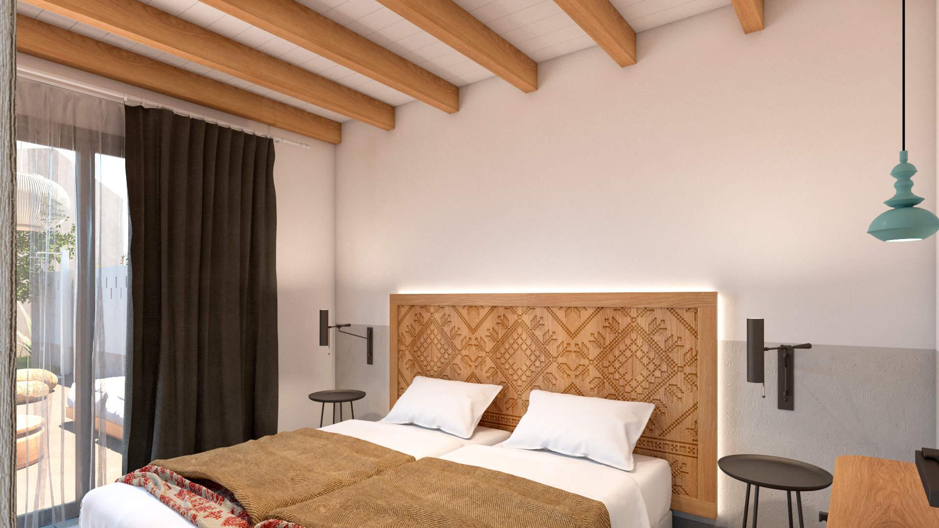 villas complex, interior design, bedroom. Συγκρότημα τουριστικών κατοικιών, εσωτερικός χώρος, υπνοδωμάτιο.