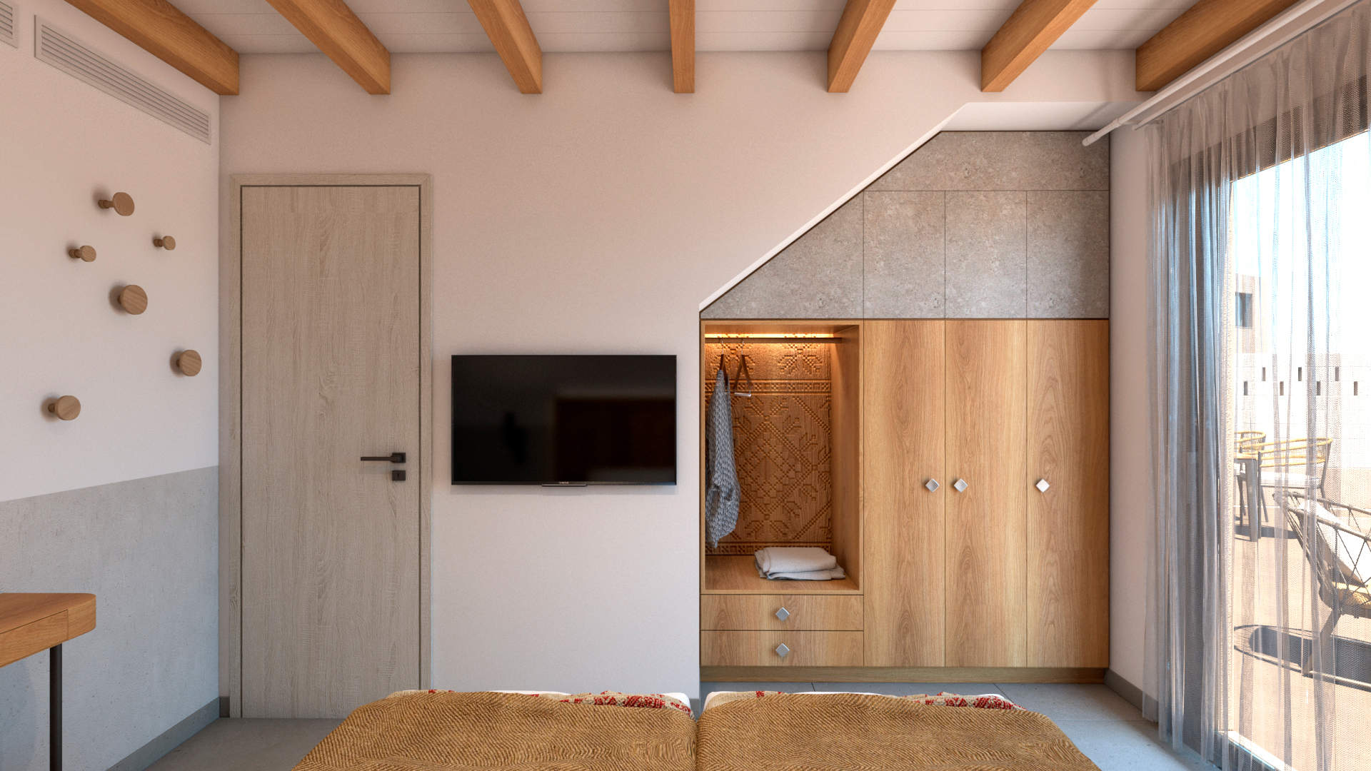 villas complex, interior design, bedroom, wardrobe. Συγκρότημα τουριστικών κατοικιών, εσωτερικός χώρος, υπνοδωμάτιο, ντουλάπι.