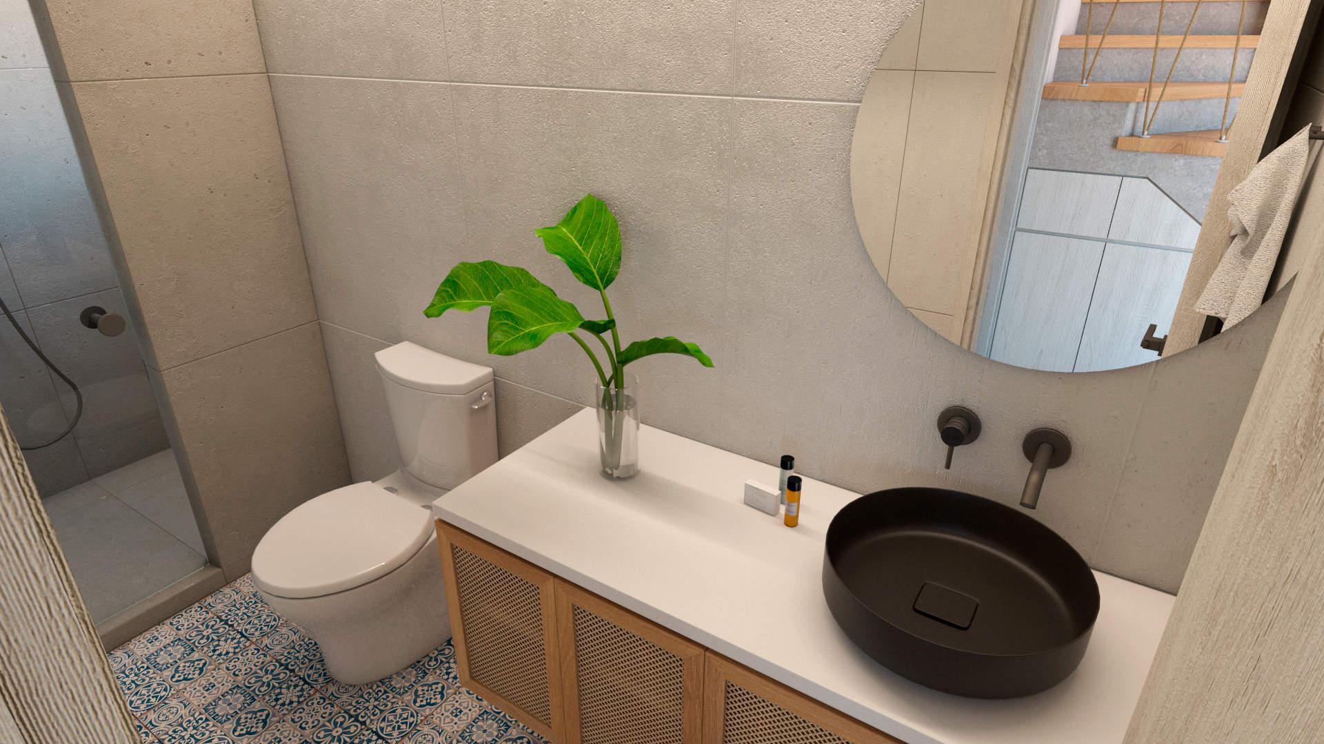 villas complex, interior design, bathroom. Συγκρότημα τουριστικών κατοικιών, εσωτερικός χώρος, μπάνιο.
