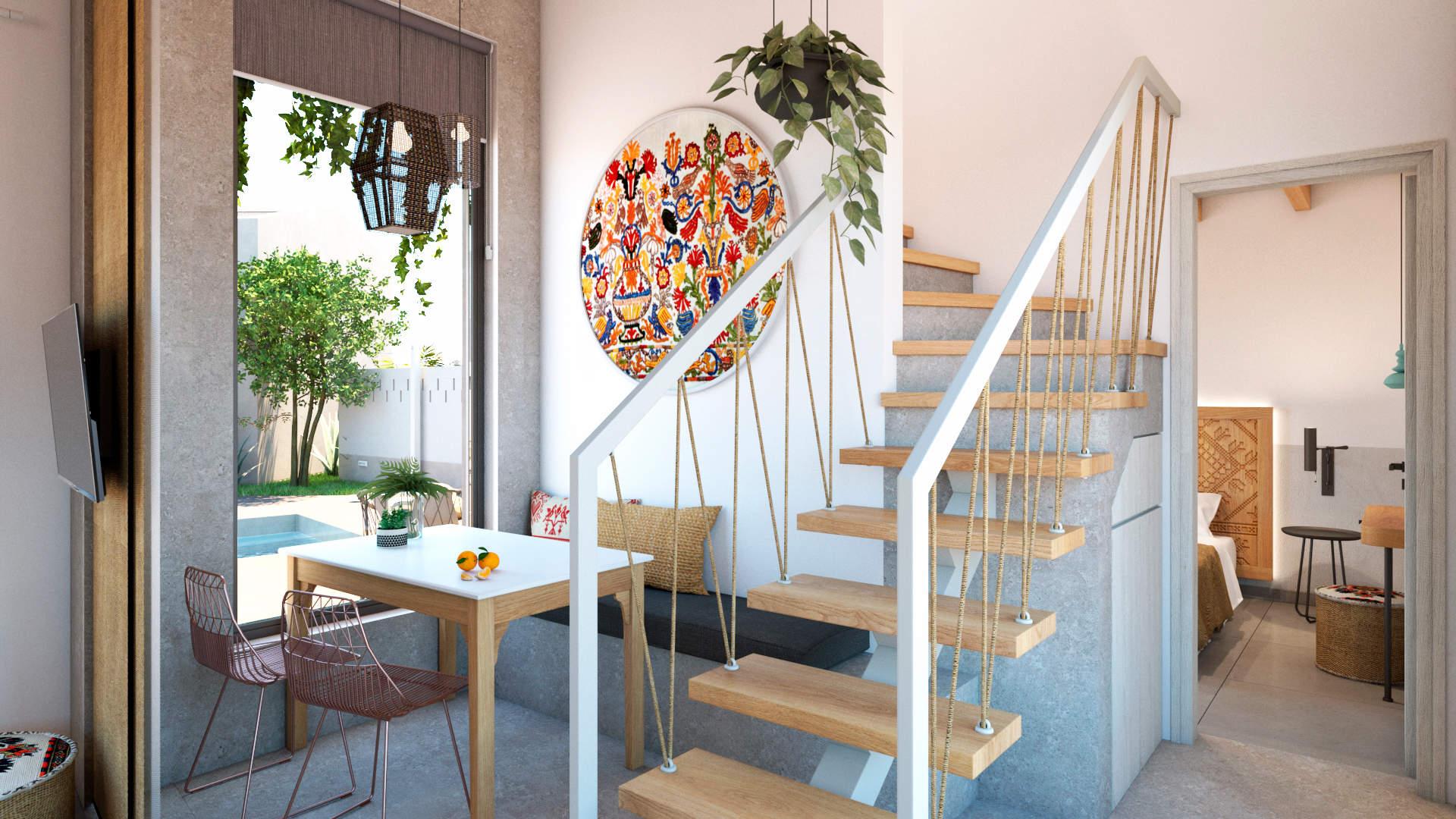 villas complex, interior design, dining room and stairs. Συγκρότημα τουριστικών κατοικιών, εσωτερικός χώρος, τραπεζαρία.