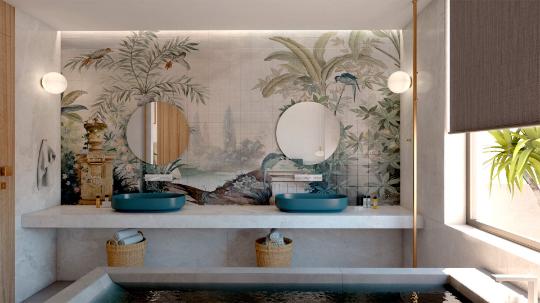 Luxury suite, interior design, indoor Jacuzzi, bathroom. Πολυτελής σουίτα, σχεδιασμός και διακόσμηση, εσωτερικό τζακούζι, μπάνιο