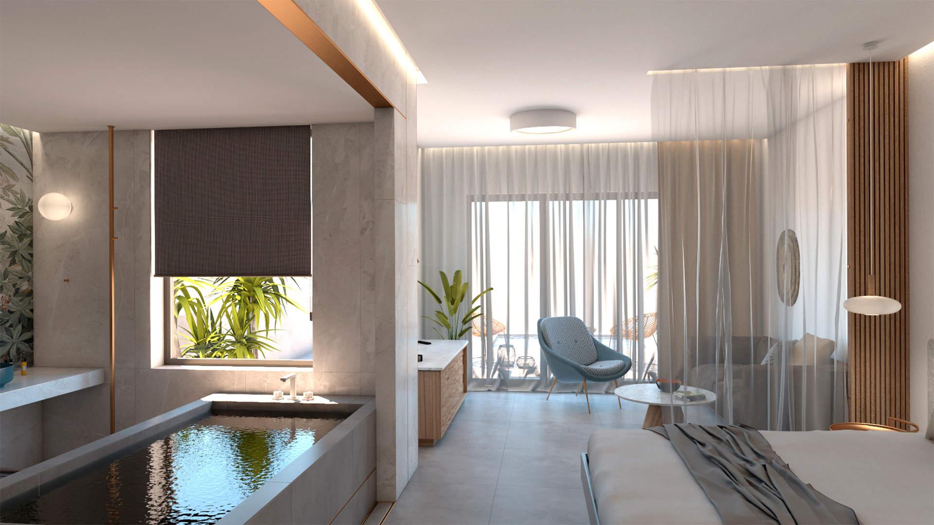 Luxury suite, interior design, indoor Jacuzzi, bed, living room Πολυτελής σουίτα, σχεδιασμός και διακόσμηση, εσωτερικό τζακούζι, κρεβατοκάμαρα, καθιστικό.