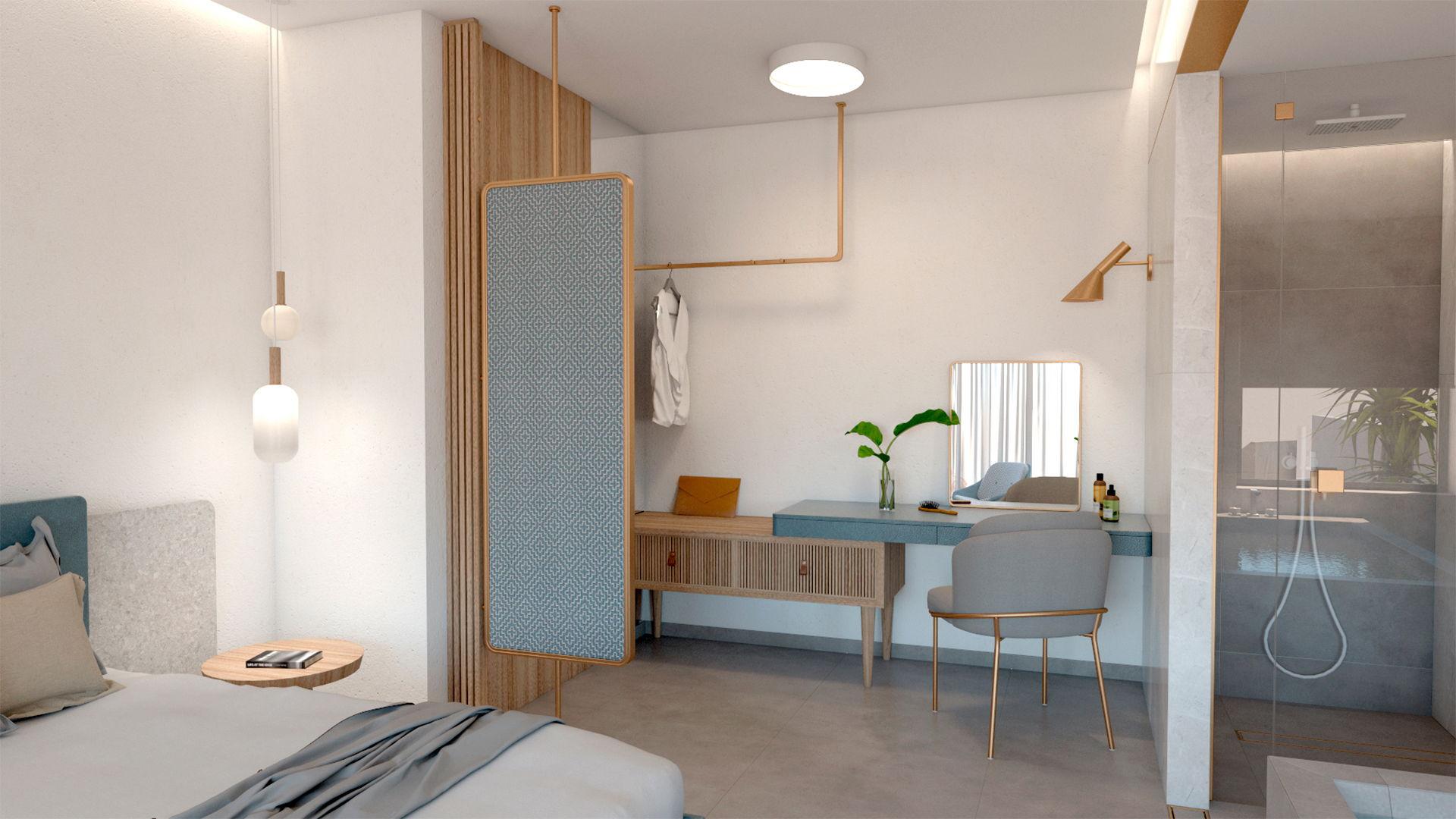 Luxury suite, interior design, wardrobe and dressing table. Πολυτελής σουίτα, σχεδιασμός και διακόσμηση, ντουλάπα και γραφείο.