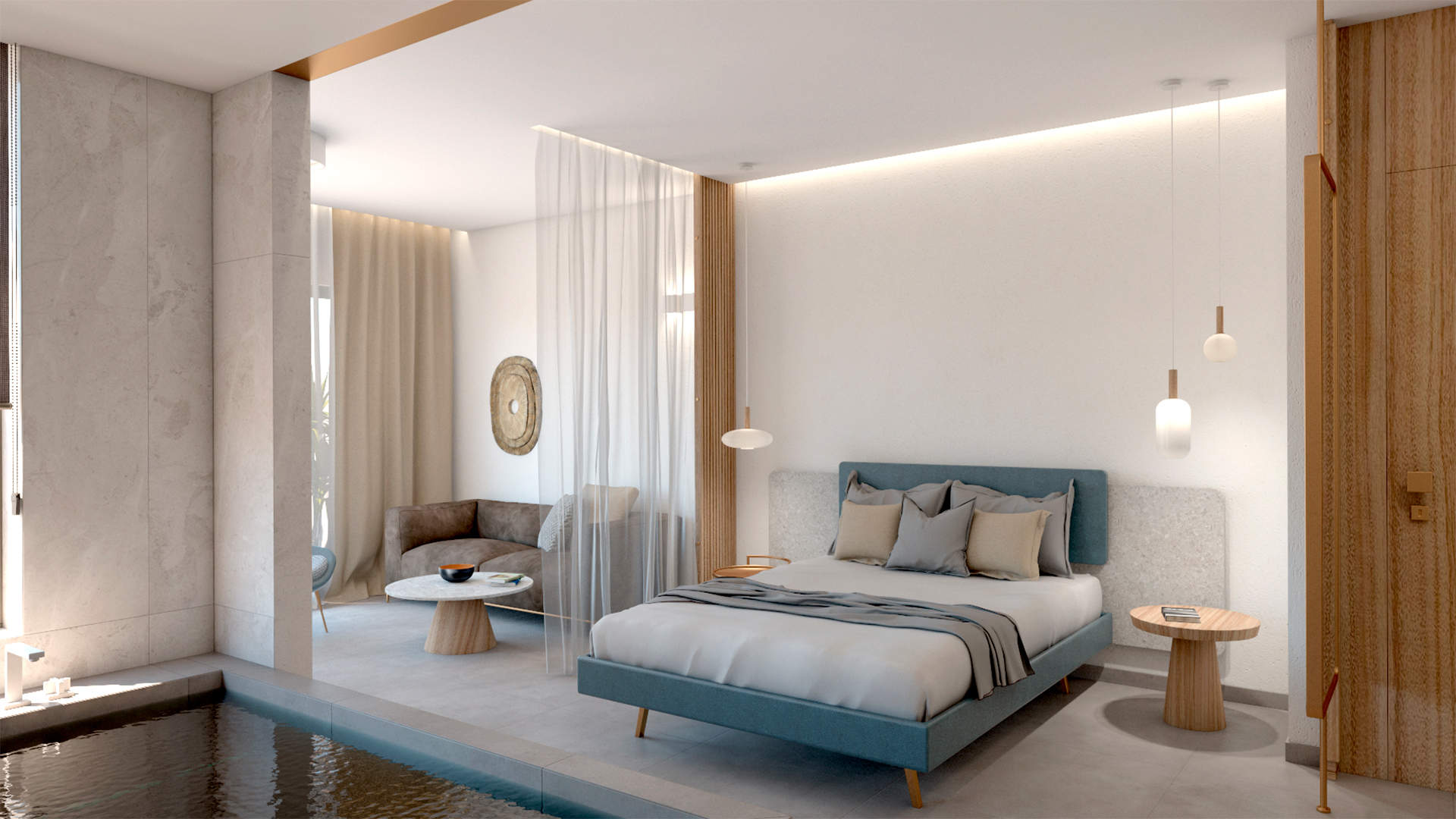 Luxury suite, interior design, indoor Jacuzzi, bed, living room. Πολυτελής σουίτα, σχεδιασμός και διακόσμηση, εσωτερικό τζακούζι, κρεβατοκάμαρα, καθιστικό.