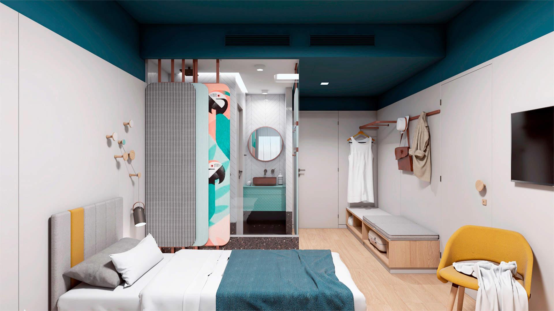 City hotel room, interior design, bed, open wardrobe and bathroom. Δωμάτιο αστικού ξενοδοχείου, κρεβάτια, ανοιχτό ντουλάπι, μπάνιο.