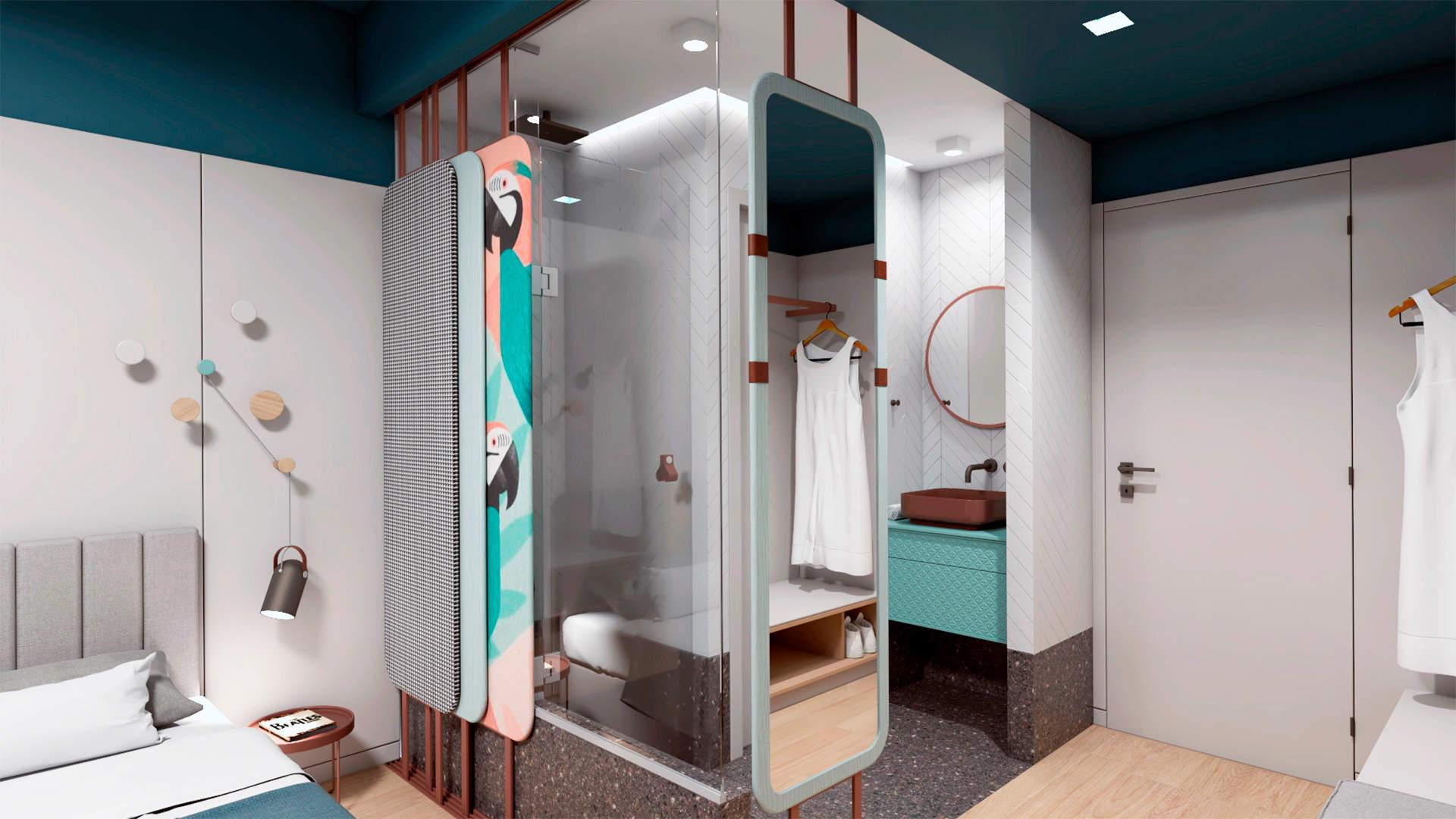 City hotel room, interior design, bathroom. Δωμάτιο αστικού ξενοδοχείου, μπάνιο.