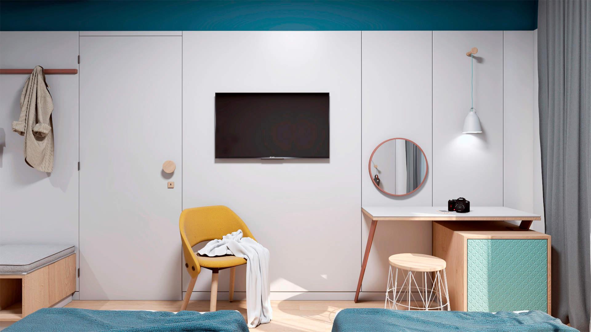 City hotel room, interior design, dressing table, desk. Δωμάτιο αστικού ξενοδοχείου, γραφείο.