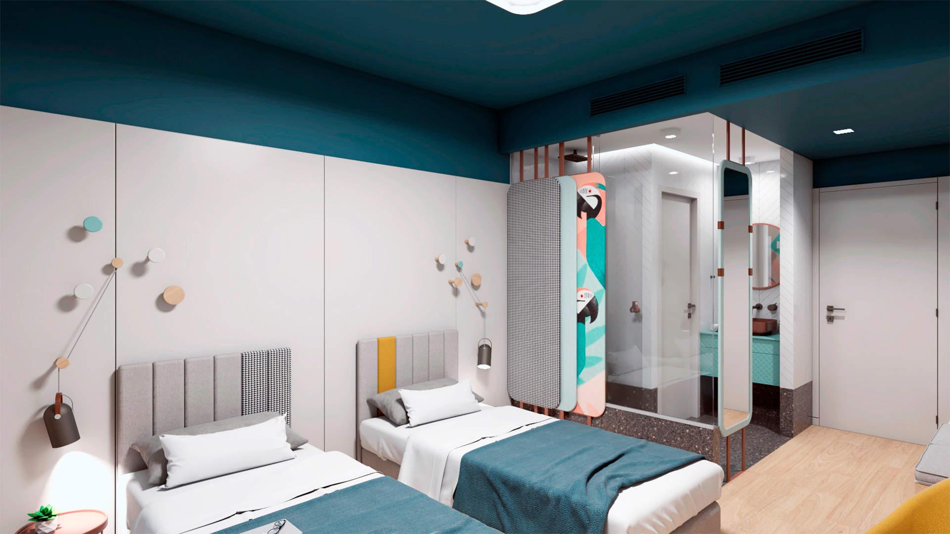 City hotel room, interior design, separate beds and bathroom. Δωμάτιο αστικού ξενοδοχείου, χωριστά κρεβάτια, μπάνιο.