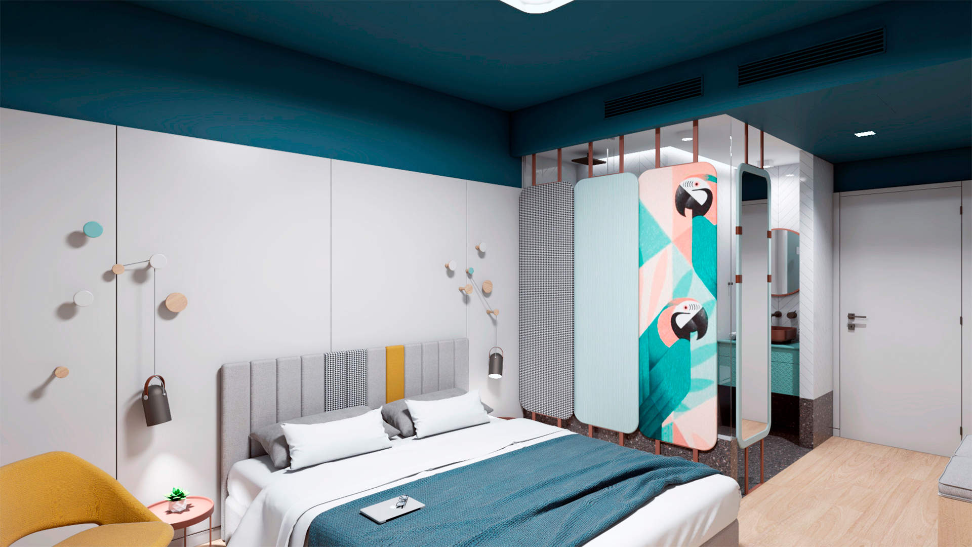 City hotel room, interior design, united beds and bathroom. Δωμάτιο αστικού ξενοδοχείου, ενωμένα κρεβάτια, μπάνιο.