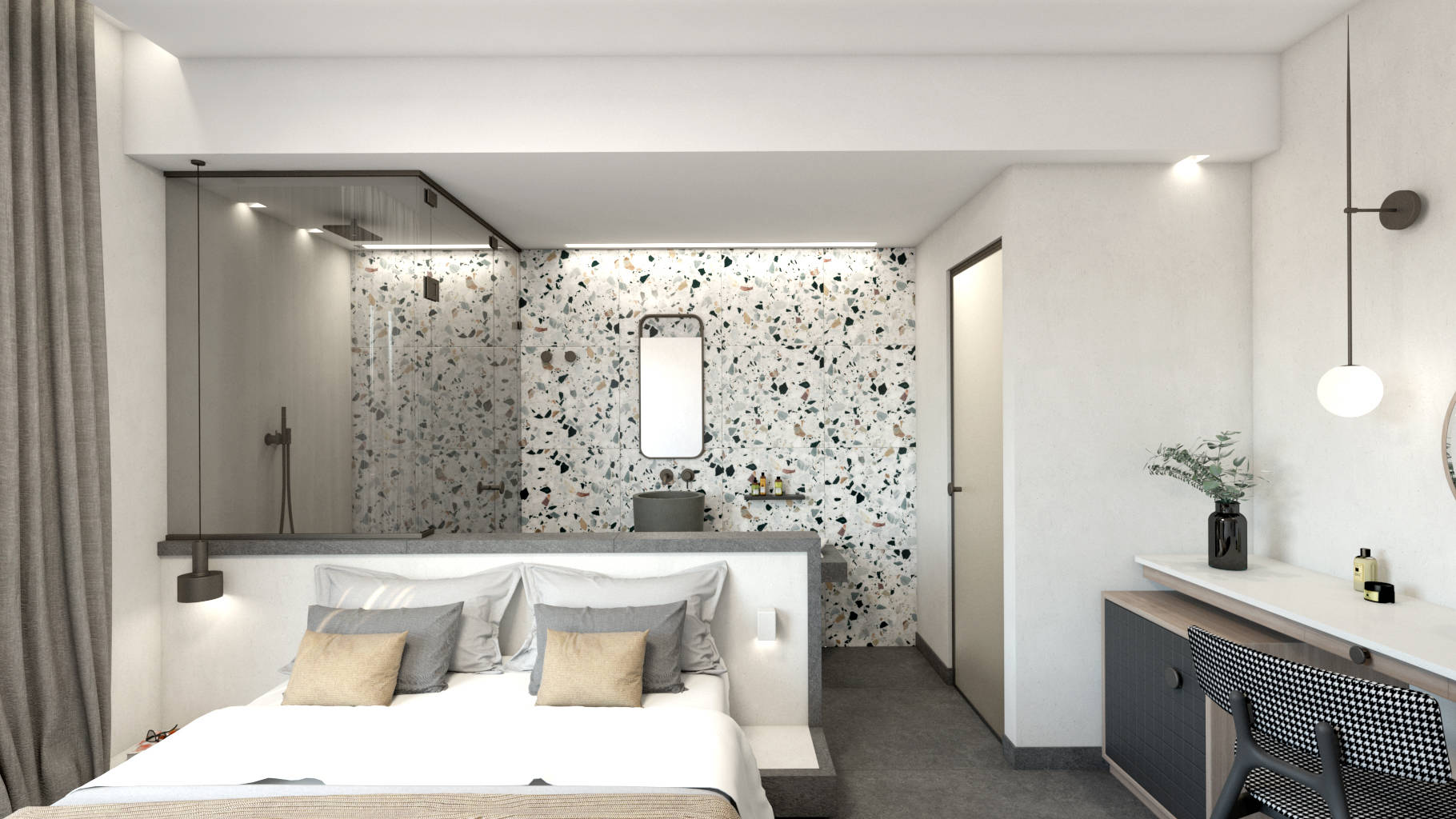 Double hotel room, interior design, bed and open bathroom. Δίκλινο δωμάτιο ξενοδοχείου, κρεβάτι και ανοιχτό μπάνιο.