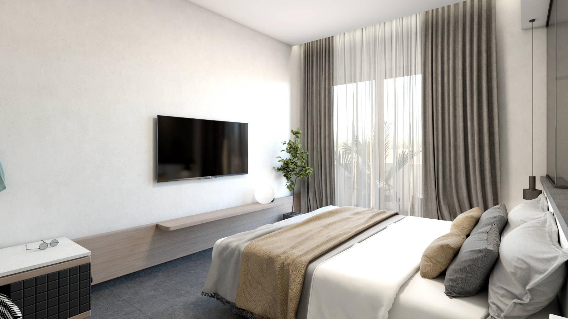 Double hotel room, interior design, bed. Δίκλινο δωμάτιο ξενοδοχείου, κρεβάτι.