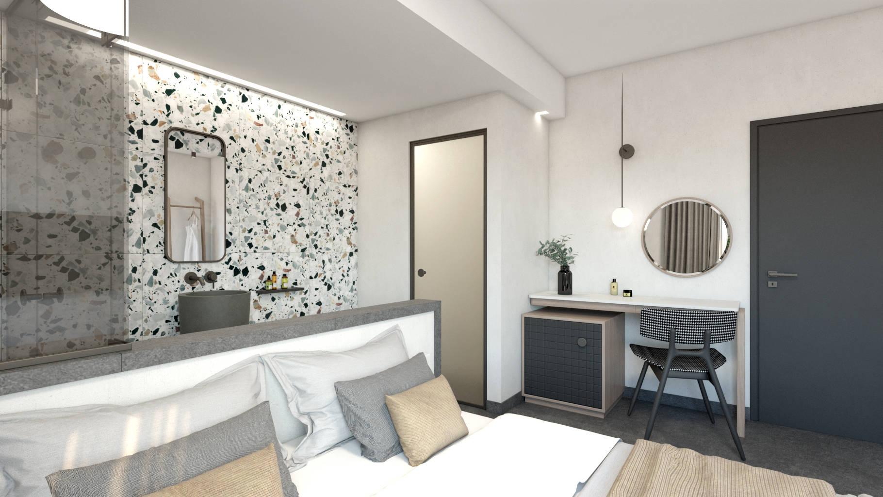Double hotel room, interior design, bed, open bathroom and dressing table. Δίκλινο δωμάτιο ξενοδοχείου, κρεβάτι και ανοιχτό μπάνιο και γραφείο.