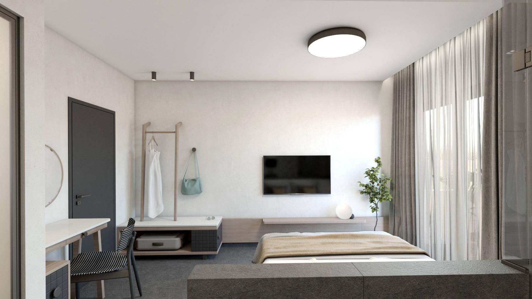 Double hotel room, interior design, bed, open wardrobe and dressing table. Δίκλινο δωμάτιο ξενοδοχείου, κρεβάτι, ανοιχτή ντουλάπα και γραφείο.