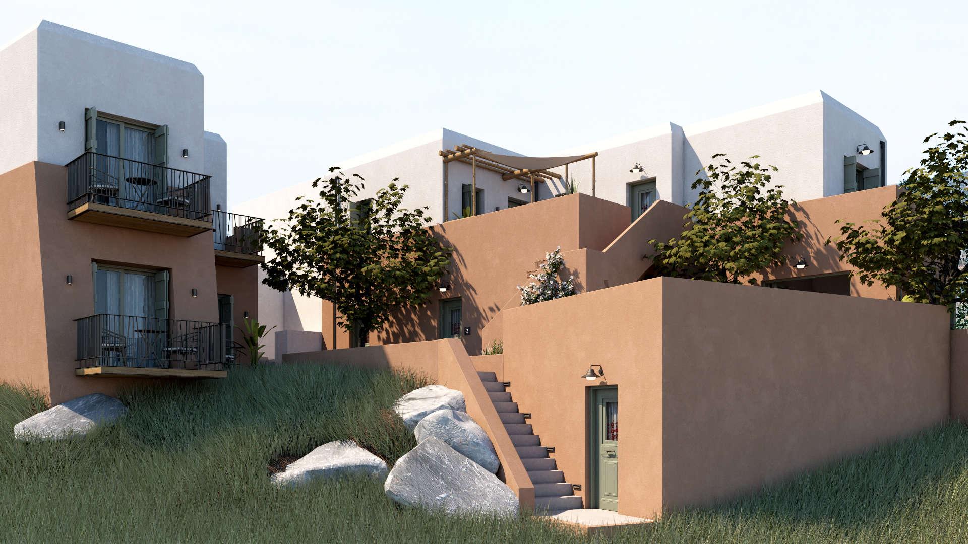 Hotel in a village, exterior design, facades. Τουριστικό κατάλυμα σε οικισμό, εξωτερικές διαμορφώσεις, όψεις.