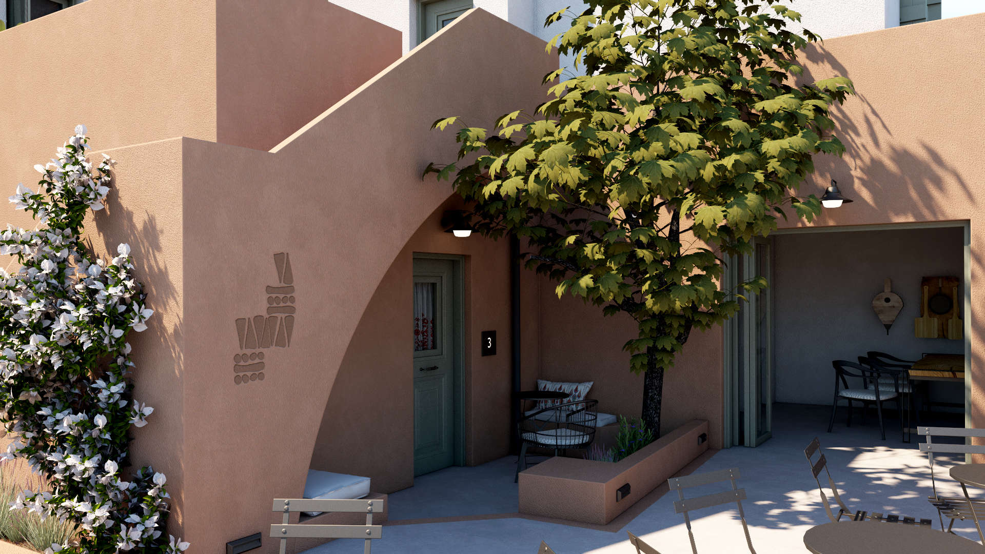 Hotel in a village, exterior design, sitting area, room entrance, facade. Τουριστικό κατάλυμα σε οικισμό, εξωτερικές διαμορφώσεις, καθιστικό, όψη, είσοδος δωματίου.