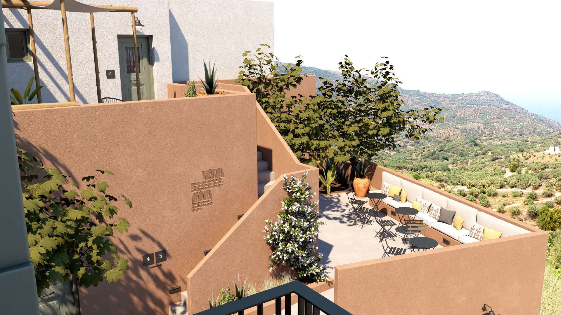 Hotel in a village, exterior design, facades, view of landscape. Τουριστικό κατάλυμα σε οικισμό, εξωτερικές διαμορφώσεις, όψεις, θέα του τοπίου.