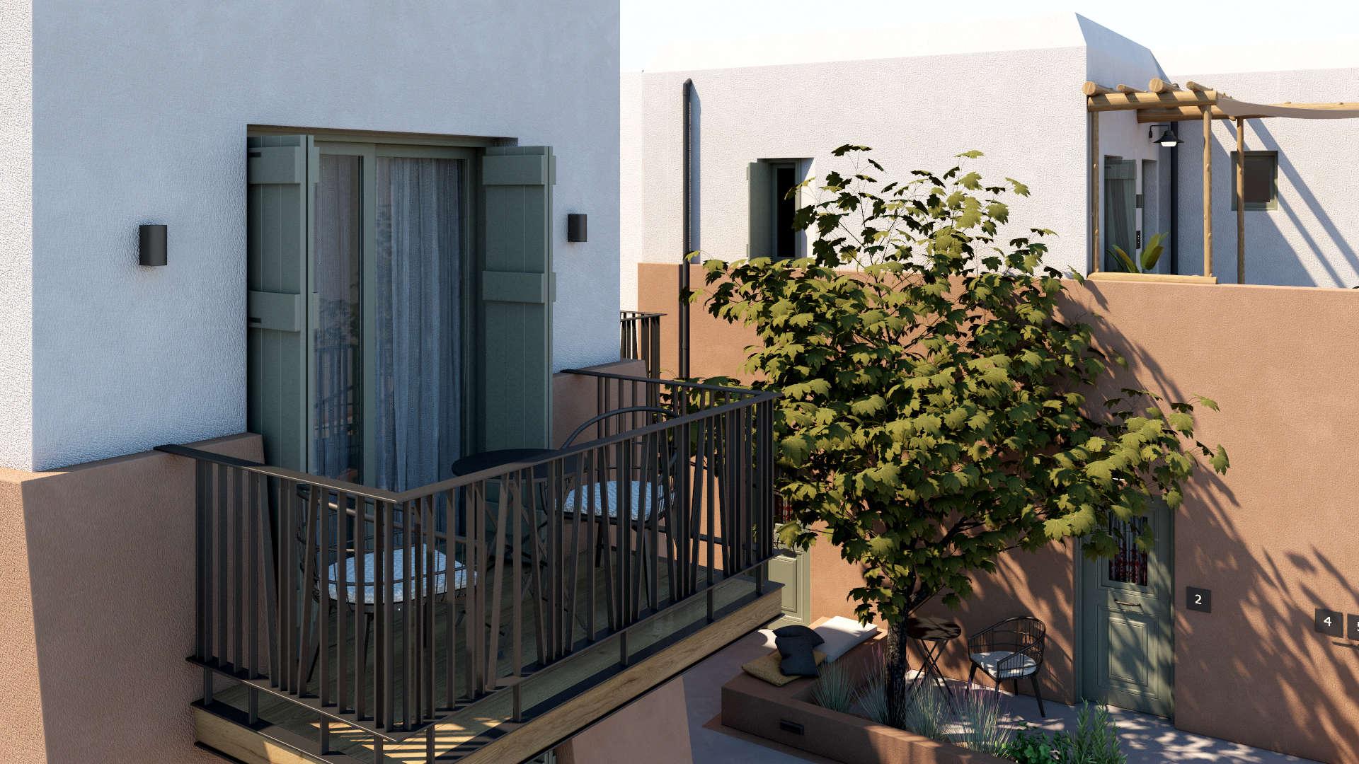 Hotel in a village, exterior design, sitting area, balcony, facade. Τουριστικό κατάλυμα σε οικισμό, εξωτερικές διαμορφώσεις, καθιστικό, όψη, μπαλκόνι.