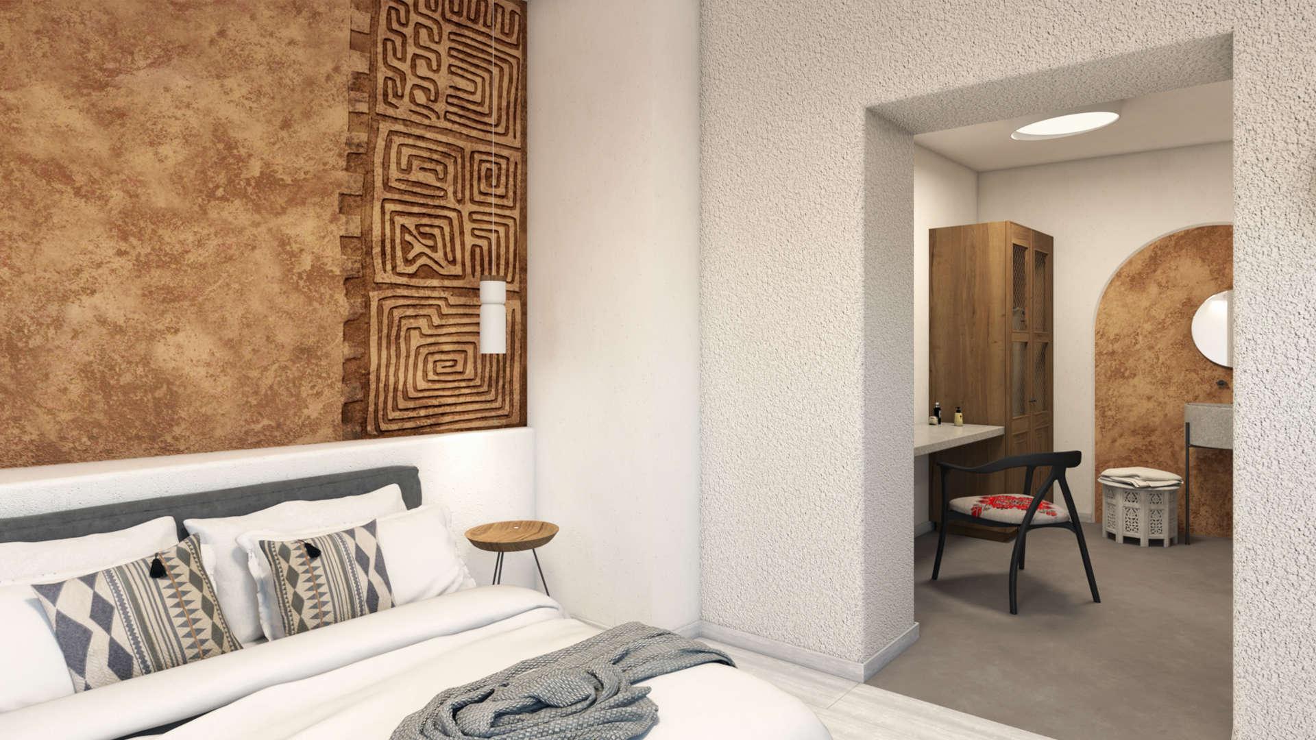 Hotel in a village,suite, interior design, bed, bathroom ante room. Τουριστικό κατάλυμα σε οικισμό, σουίτα, κραβατοκάμαρα και προθάλαμος μπάνιου.