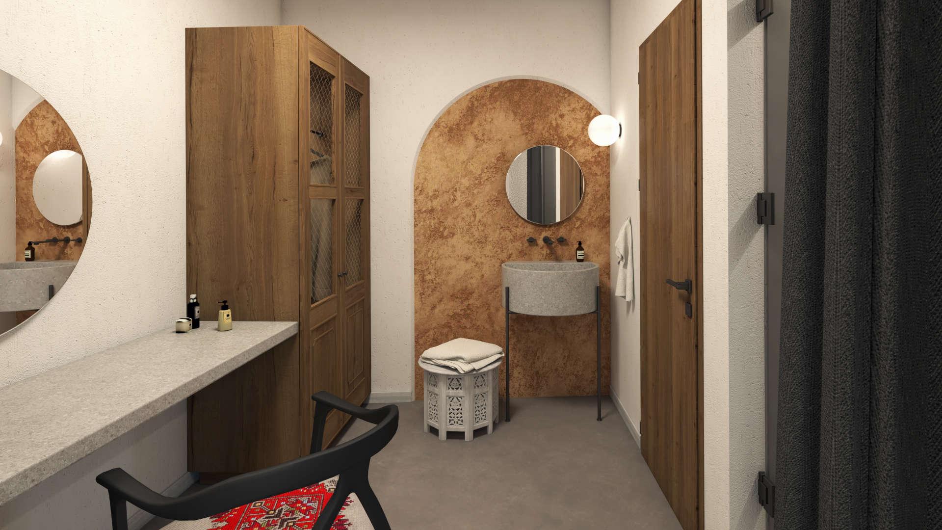 Hotel in a village,suite, interior design, bathroom ante room, dressing table,wardrobe and sink area. Τουριστικό κατάλυμα σε οικισμό, σουίτα, προθάλαμος μπάνιου, ντουλάπα, γραφείο και νιπτήρας.