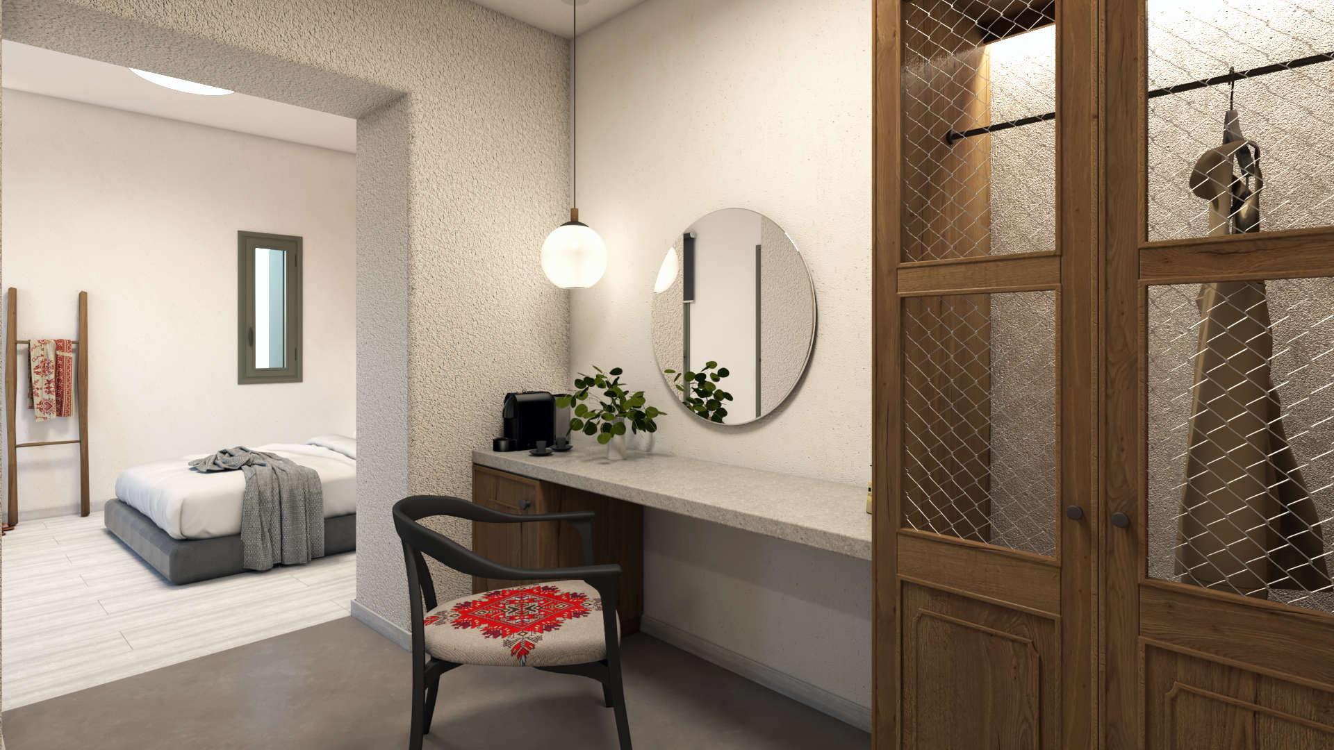 Hotel in a village, suite, interior design, bathroom ante room, dressing table,wardrobe. Τουριστικό κατάλυμα σε οικισμό, σουίτα, προθάλαμος μπάνιου, ντουλάπα, γραφείο.