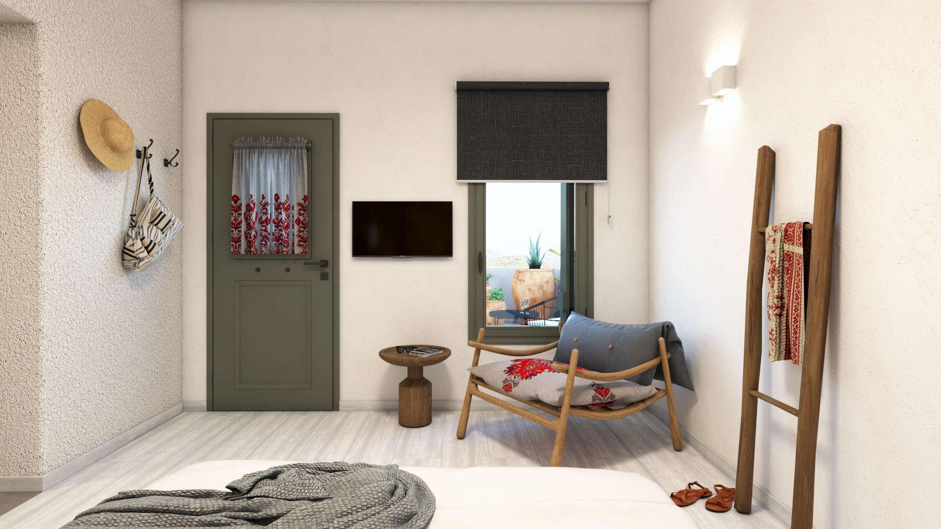 Hotel in a village,suite, interior design, bedroom. Τουριστικό κατάλυμα σε οικισμό, σουίτα, κραβατοκάμαρα.