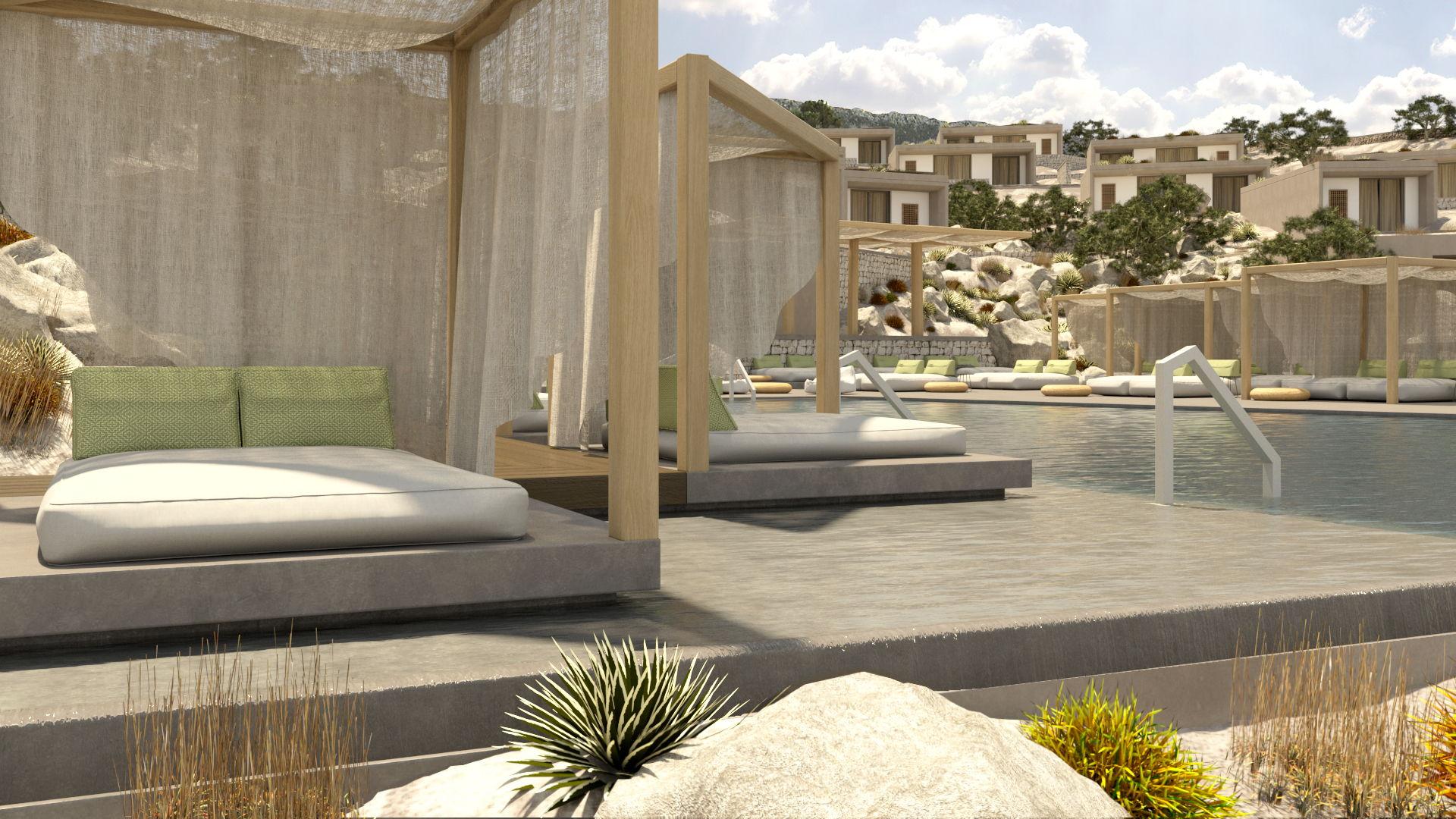 Hotel complex in Kokkino Chorio, pool and poolside, landscaping, facades. Ξενοδοχειακό συγκρότημα στο Κόκκινο χωριό, πισίνα, περιβάλλον χώρος, όψεις κτιρίων.
