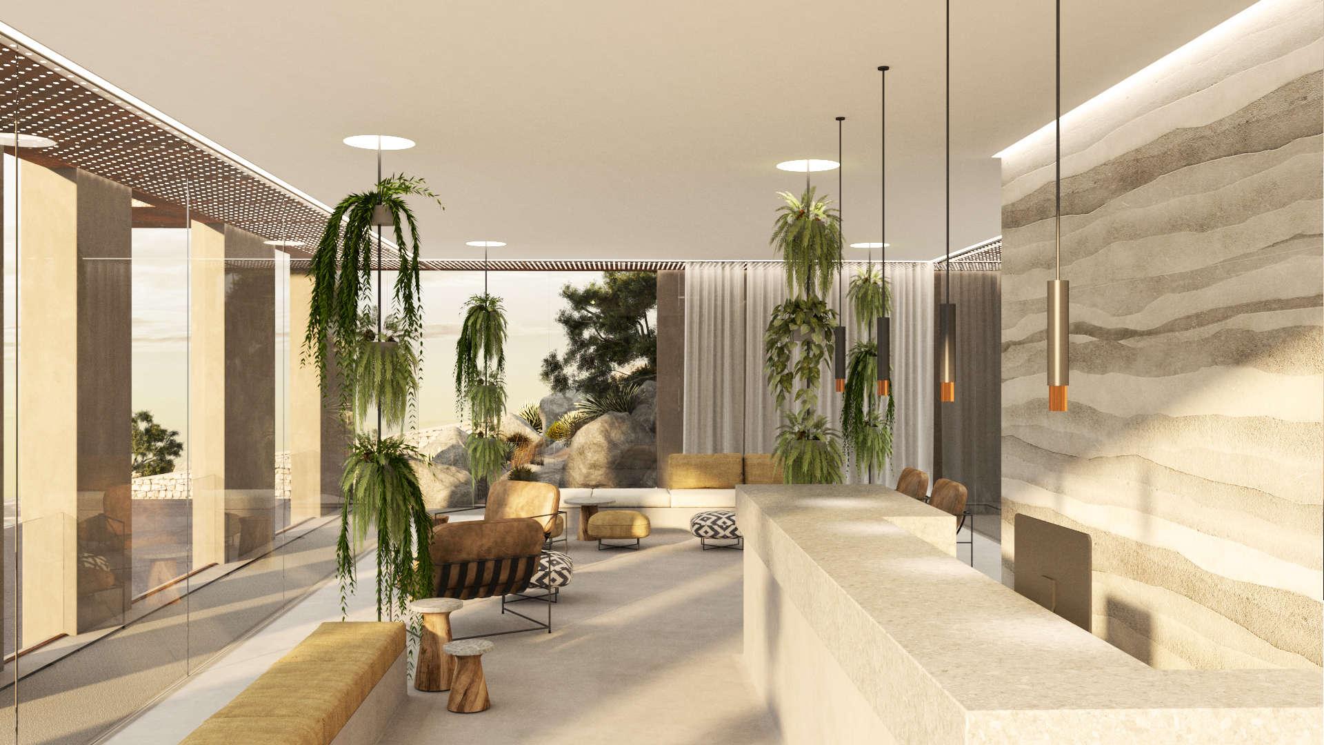 Reception and lobby interior design, rammed earth wall. Εσωτερικός χώρος της Ρεσεψιόν και της αίθουσας αναμονής. Τοίχος με την τεχνική του rammed earth.