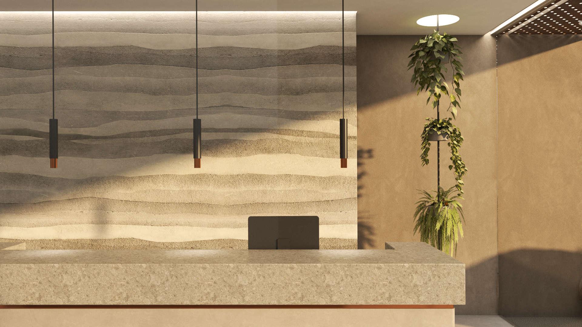 Reception desk, rammed earth wall, Interior design. Ρεσεψιόν, Τοίχος με την τεχνική του rammed earth, Διακόσμηση
