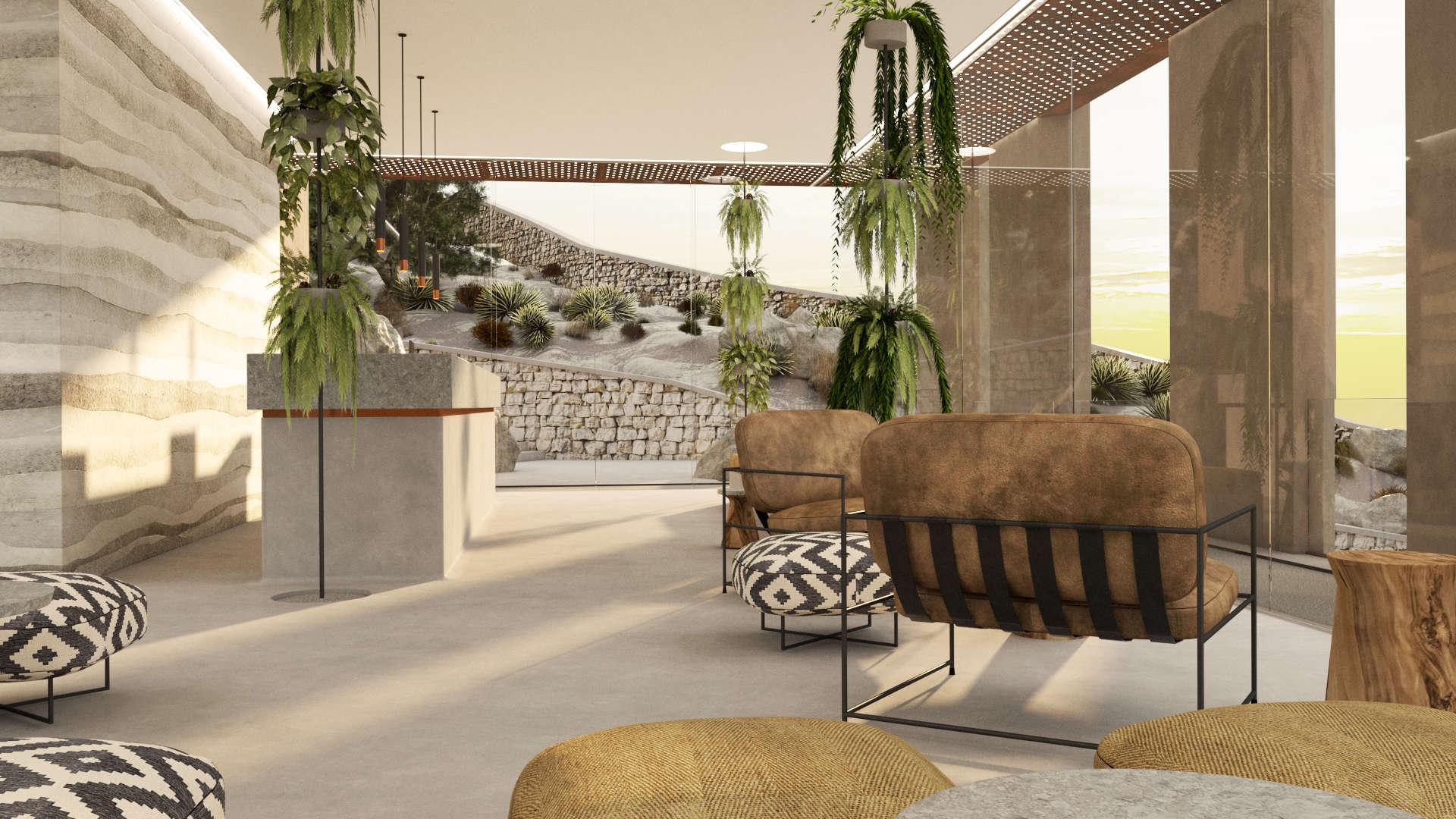 Reception and lobby interior design, rammed earth wall, view. Εσωτερικός χώρος της Ρεσεψιόν και της αίθουσας αναμονής. Τοίχος με την τεχνική του rammed earth, Θέα της εξωτερικής διαμόρφωσης.