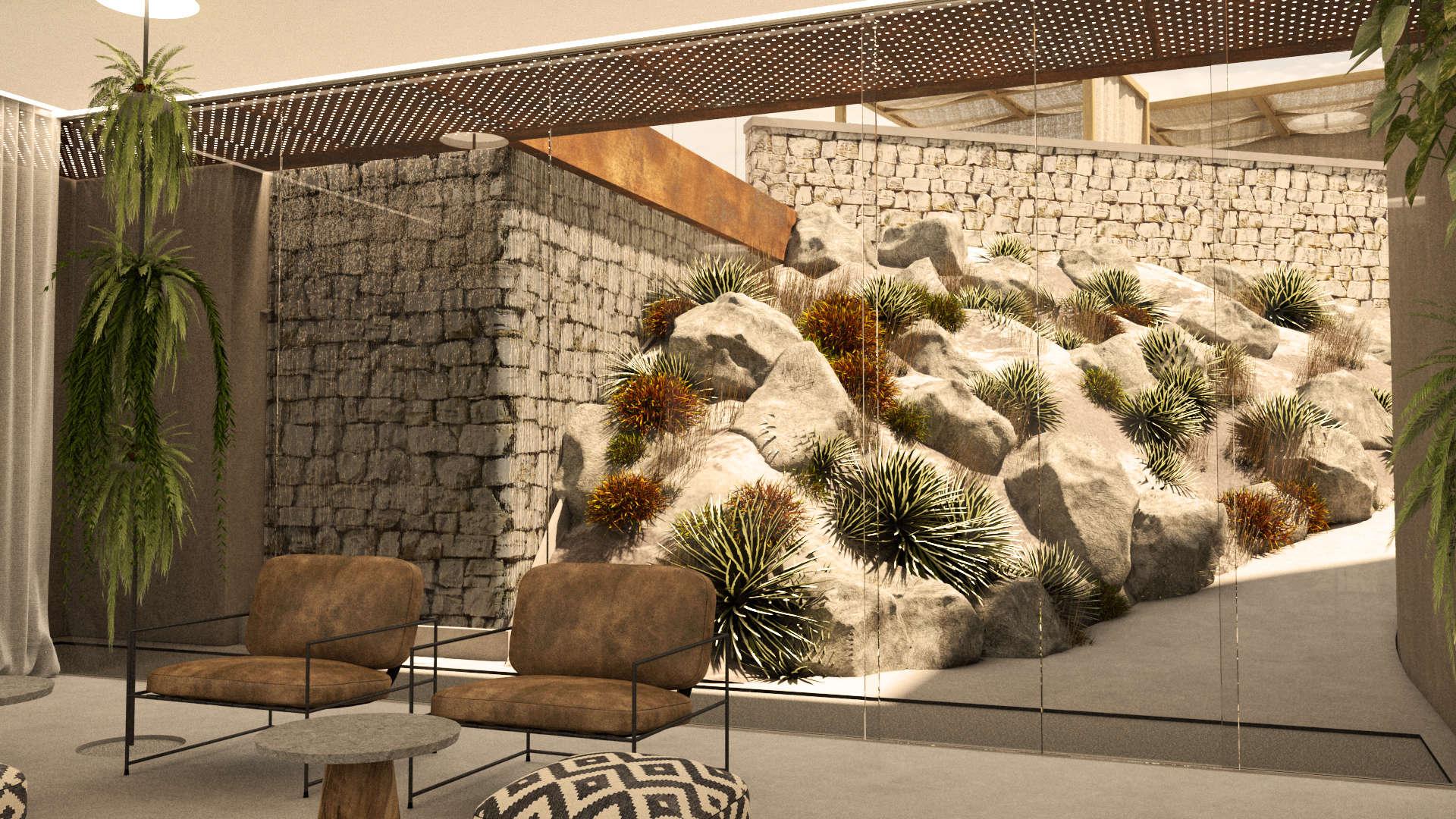 Hotel lobby interior design, rocky landscape. Αίθουσα αναμονής του ξενοδοχείου. Βραχώδες τοπίο.