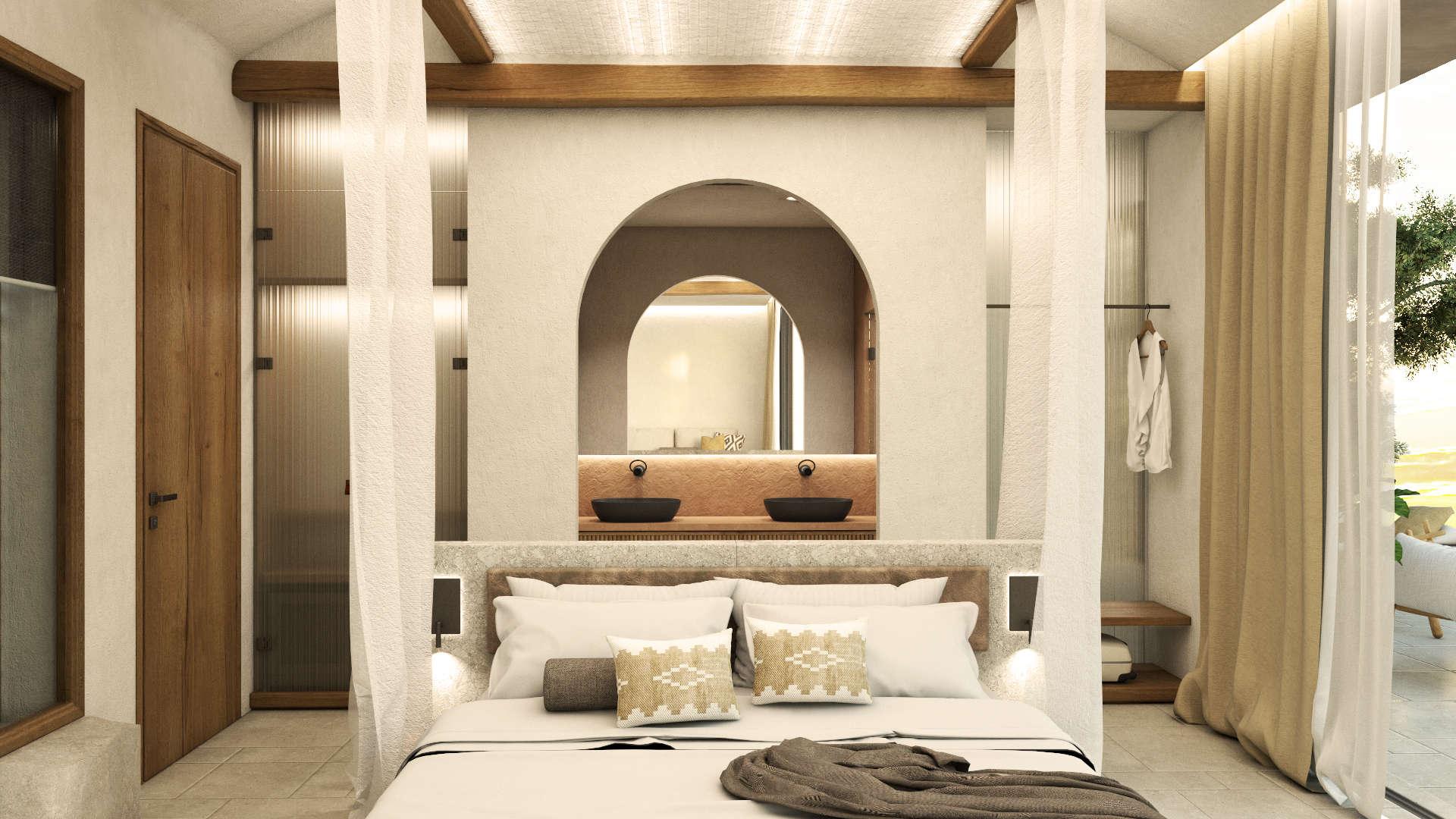 Interior design, Luxury suite, bed and bathroom. Διακόσμηση, Πολυτελής σουίτα. Κρεβάτι και μπάνιο.