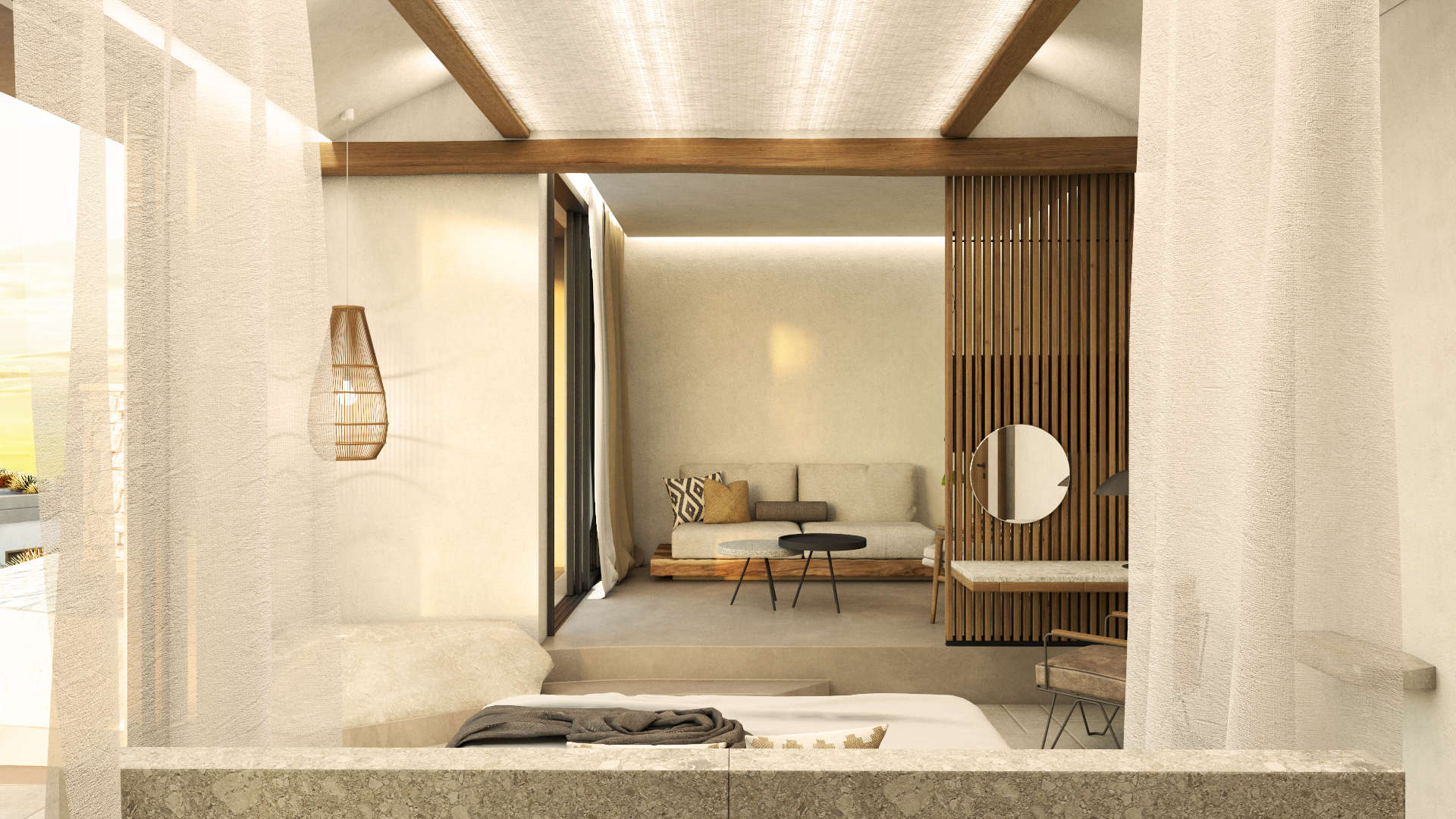 Interior design, Luxury suite, bed, living room and desk. Διακόσμηση, Πολυτελής σουίτα. Κρεβάτι, καθιστικό και γραφείο.