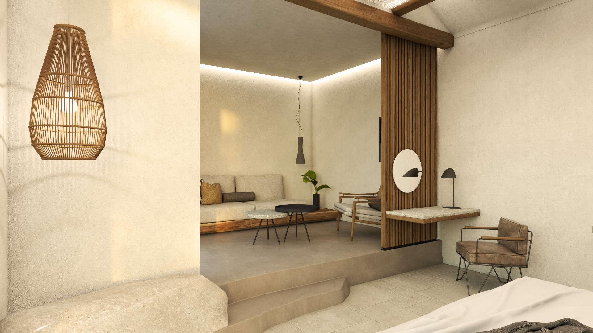 Interior design, Luxury suite, living room and desk. Διακόσμηση, Πολυτελής σουίτα. Καθιστικό και γραφείο.