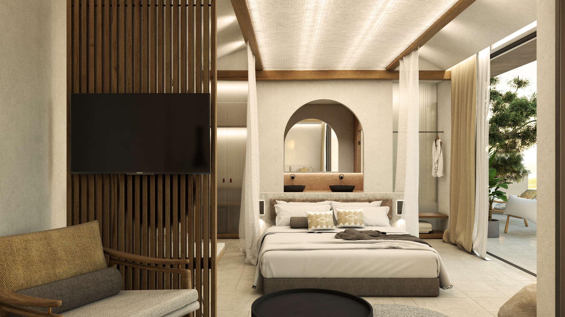 Interior design, Luxury suite, bed, living room. Διακόσμηση, Πολυτελής σουίτα. Κρεβάτι, καθιστικό.