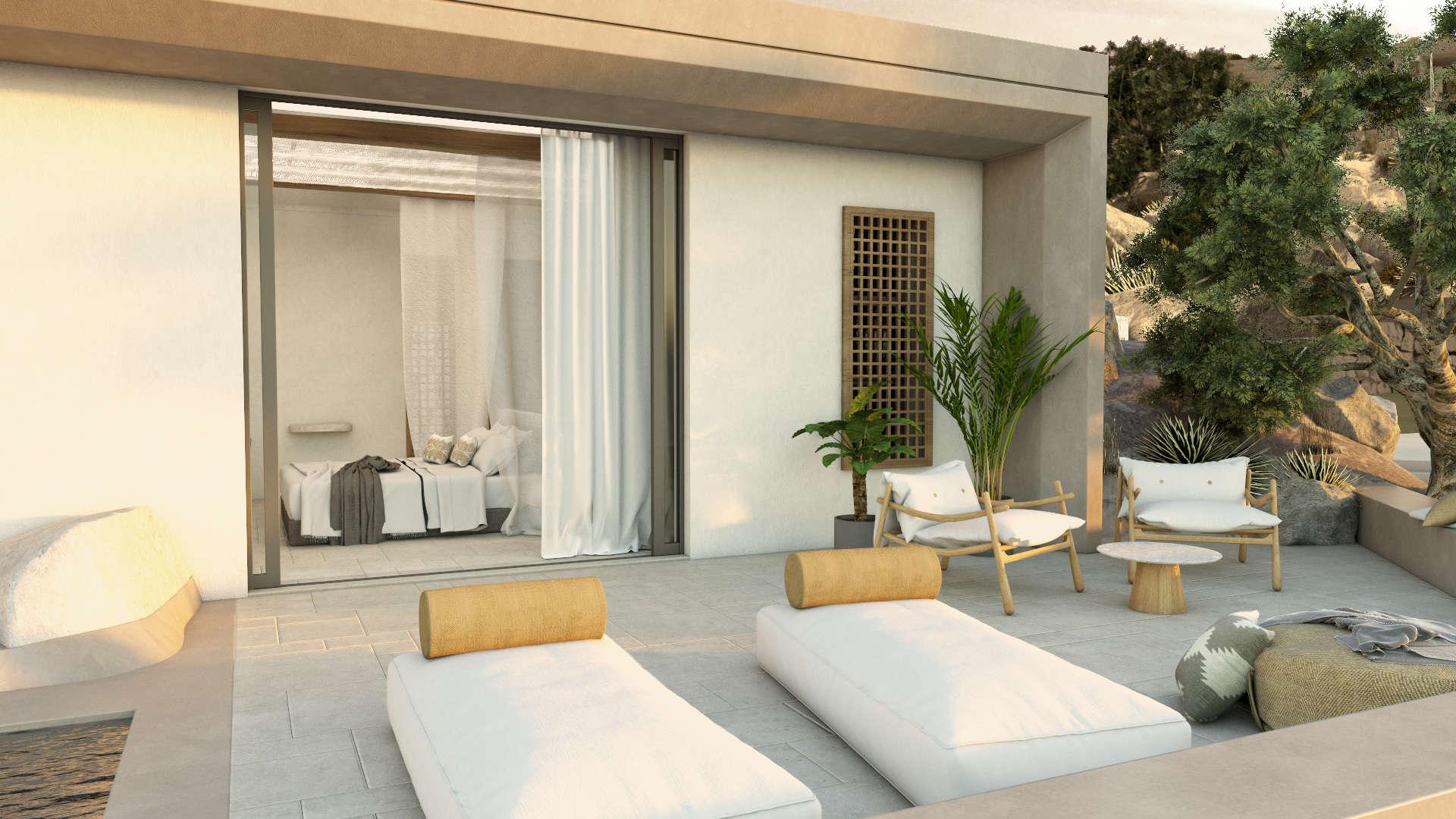 Luxury suite, exterior design, private poolside. Πολυτελής σουίτα. Εξωτερικός χώρος με ιδιωτική πισίνα.