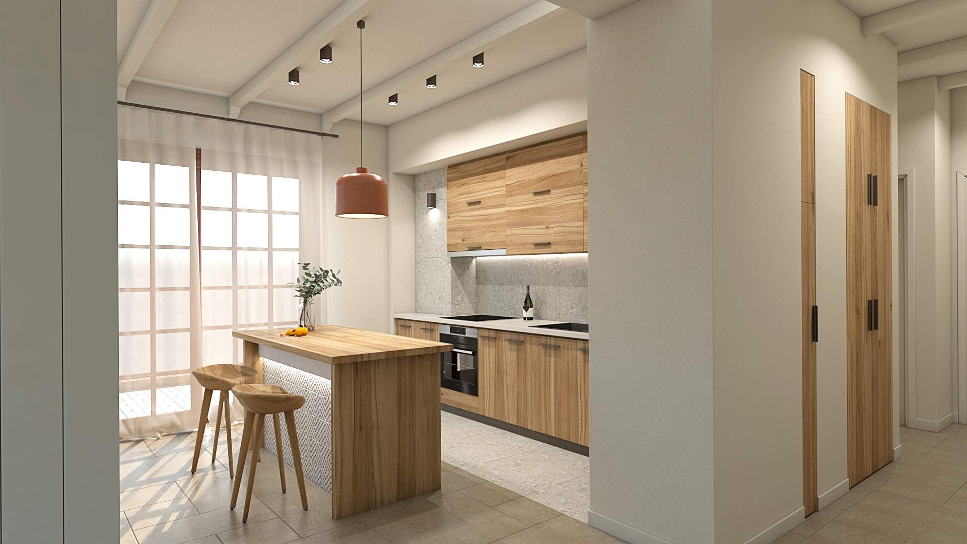 apartment renovation, kitchen, kitchen island, wood and terrazzo tiles. Μερική αναδιαμόρφωση κατοικίας, κούζινα, νησίδα, ξύλο και μωσαϊκά πλακάκια.