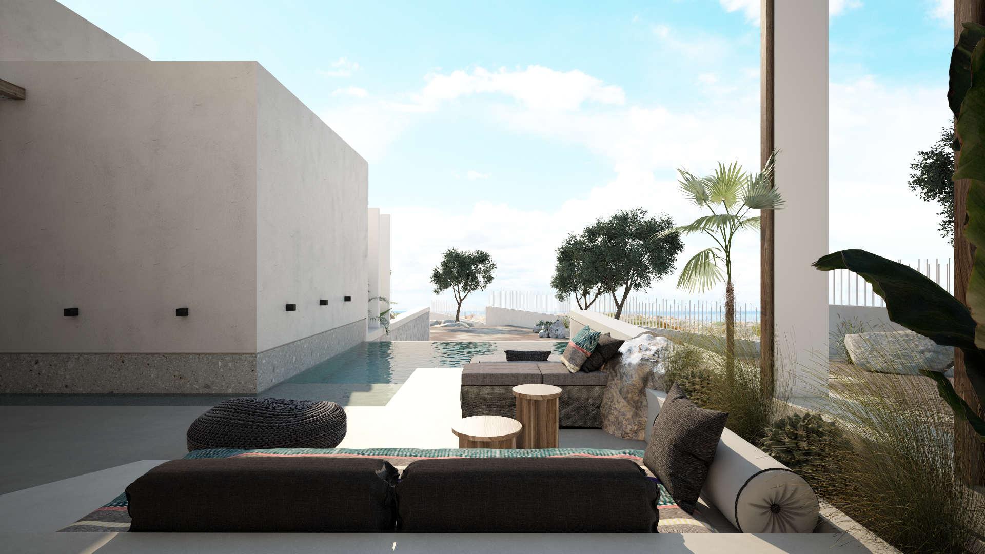 hotel renovation, exterior design, pool, ανακαίνιση ξενοδοχείου, εξωτερικός χώρος δωματίου με πισινα